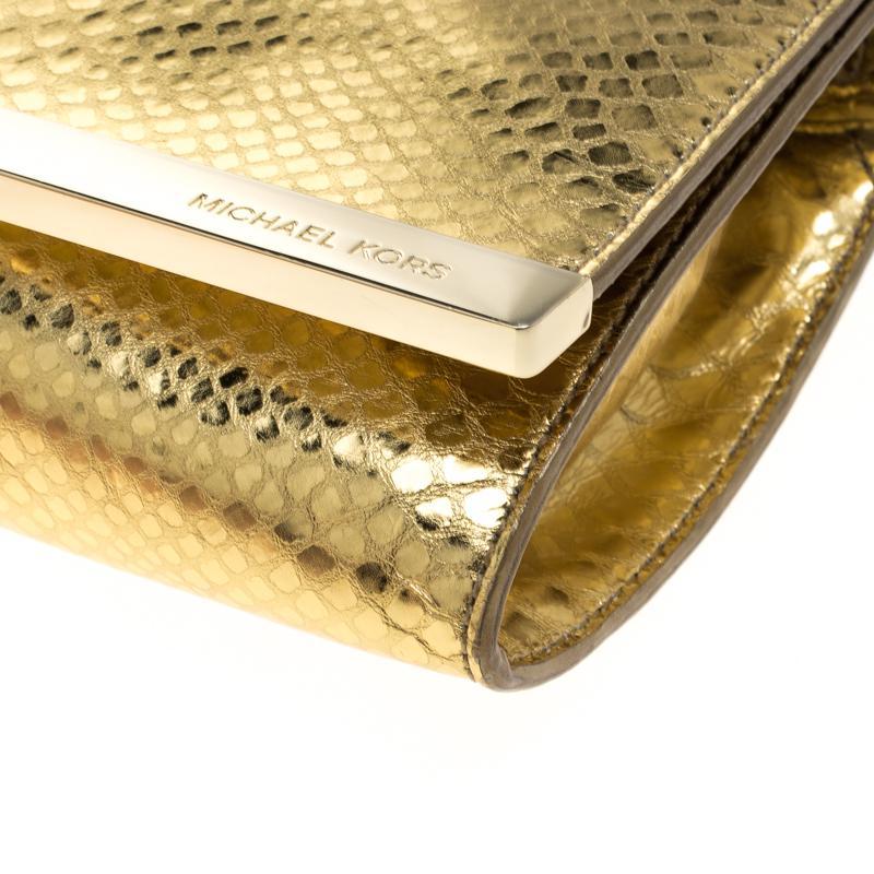 f1713a010685 Lyst - MICHAEL Michael Kors Metallic Python Print Leather Tilda ...