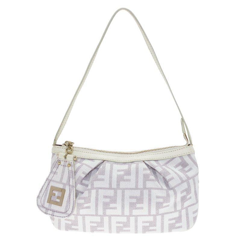7fb528efca53 Fendi Off White beige Zucca Canvas Pochette Bag in Natural - Lyst