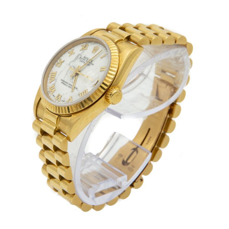 White 18k Yellow Gold Date Just President Bracelet Women\u0027s Watch 31mm