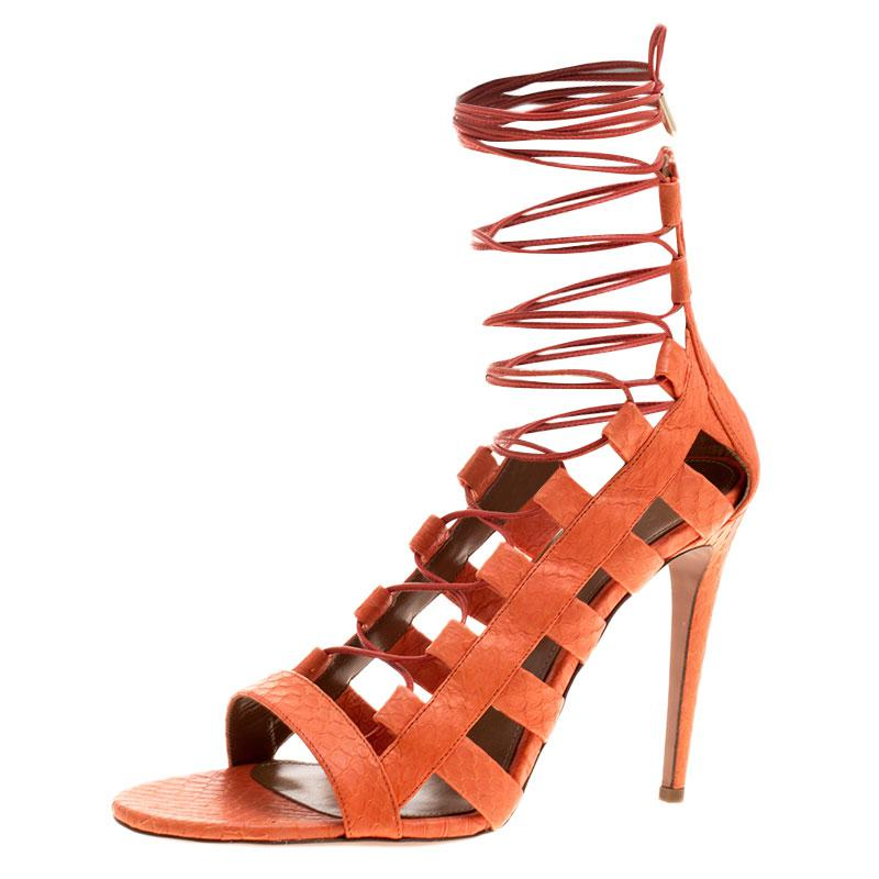 3214f4544835 Aquazzura. Women s Orange Python Leather Amazon Lace Up Open Toe Sandals