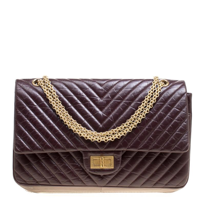 cba835ac9e38ed Chanel. Women's Purple Burgundy Chevron Quilted Leather Reissue 2.55 Classic  227 Flap Bag