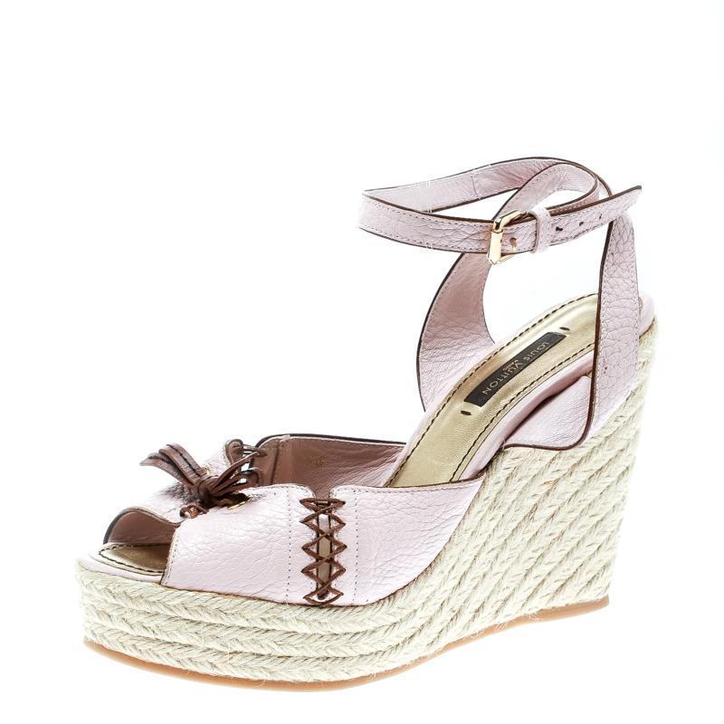 15a04d14965 Louis Vuitton. Women s Pink Blush Leather Ankle Strap Espadrilles Wedge  Sandals