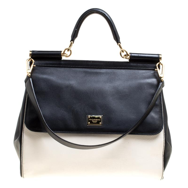 3b48ce264880 Dolce   Gabbana. Women s White Off  black Leather Large Miss Sicily Top  Handle Bag