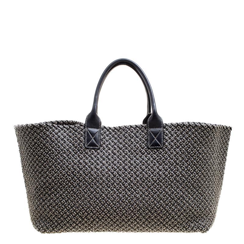 ba68677c171c Bottega Veneta. Women s Gray Dark Woven Leather Large Limited Edition  053 500 Cabat Tote
