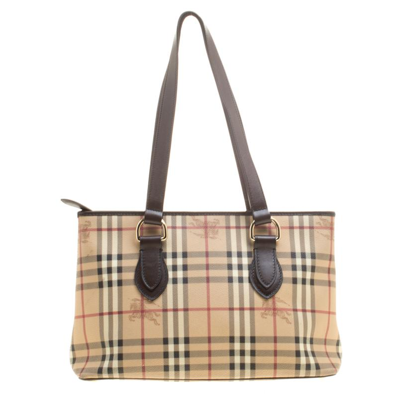 Burberry. Women s Natural   Dark Brown Haymarket Check Pvc And Leather ... b78d348f6d418