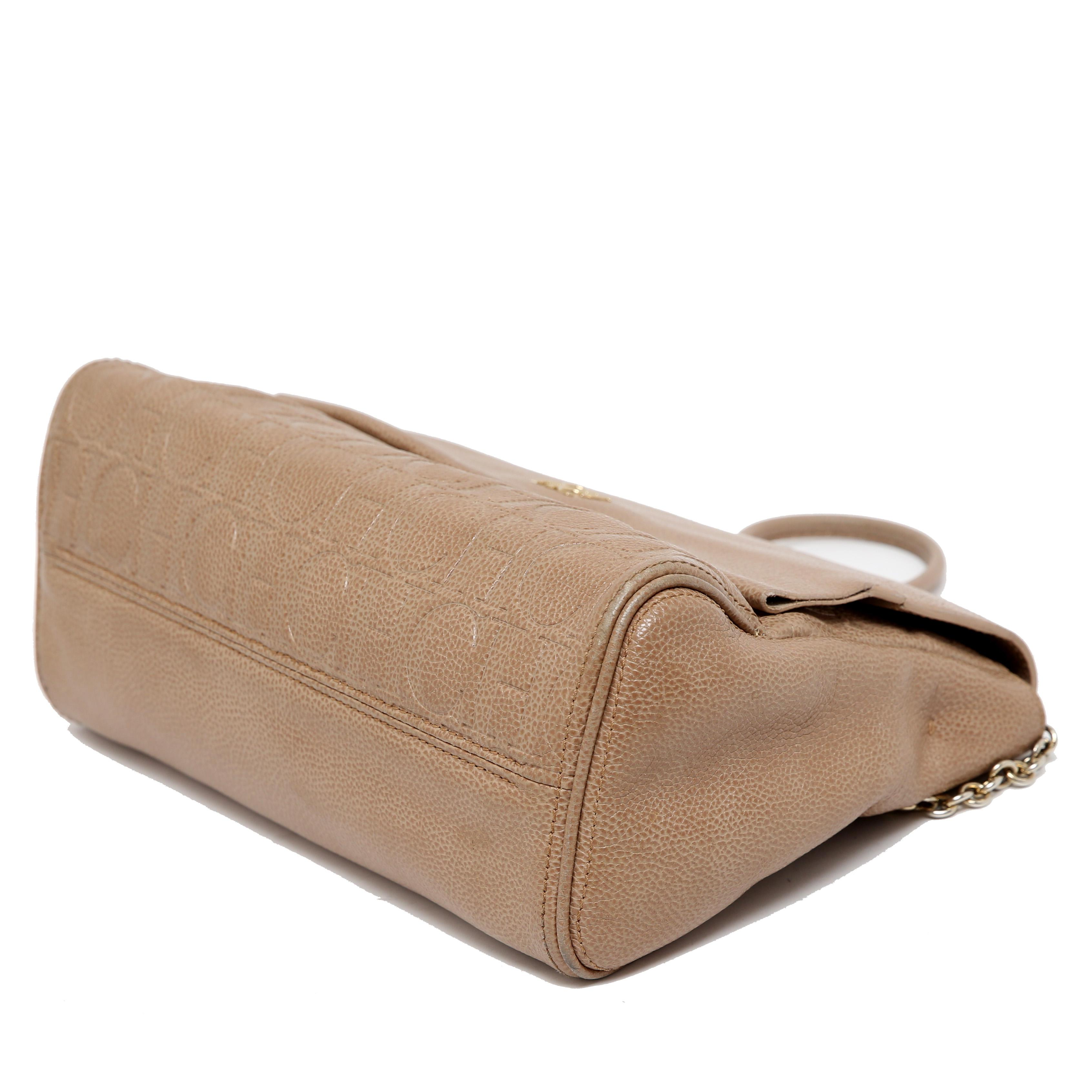 Lyst - Carolina Herrera Leather Minuetto Flap Bag in Natural a85a79d380f65