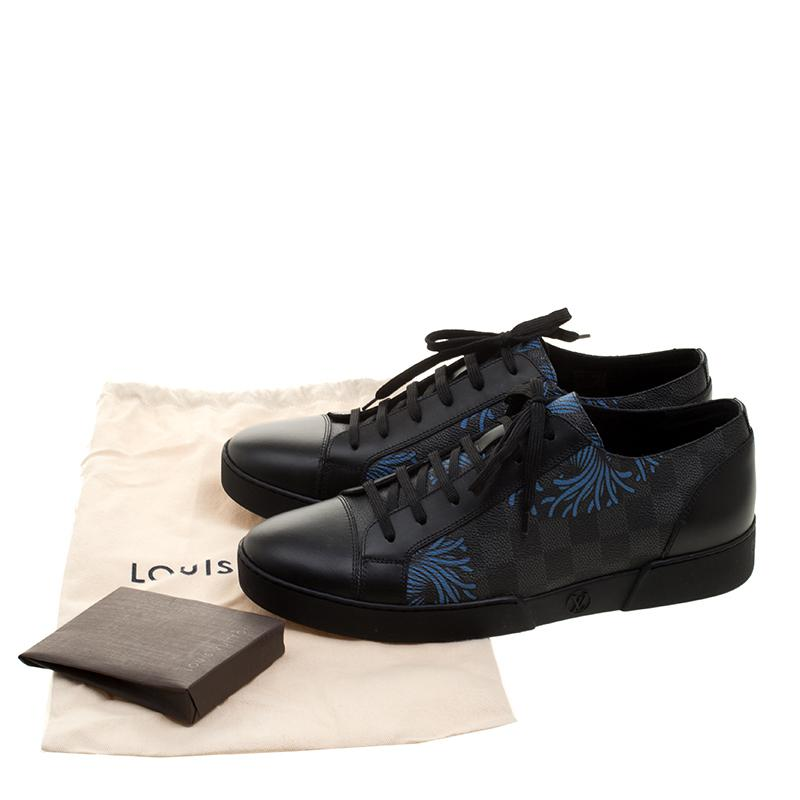 4c43be5e8a9 Louis Vuitton Black Damier Graphite Canvas And Leather Match Up Sneakers  for men