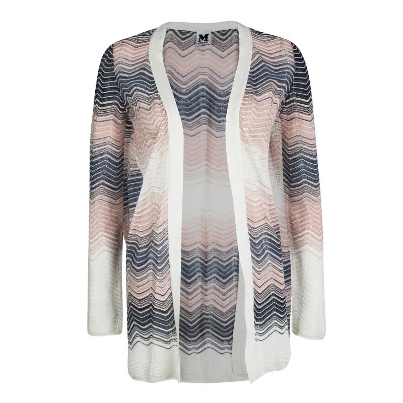 039923b83 M Missoni Multicolor Perforated Wave Pattern Knit Open Front ...