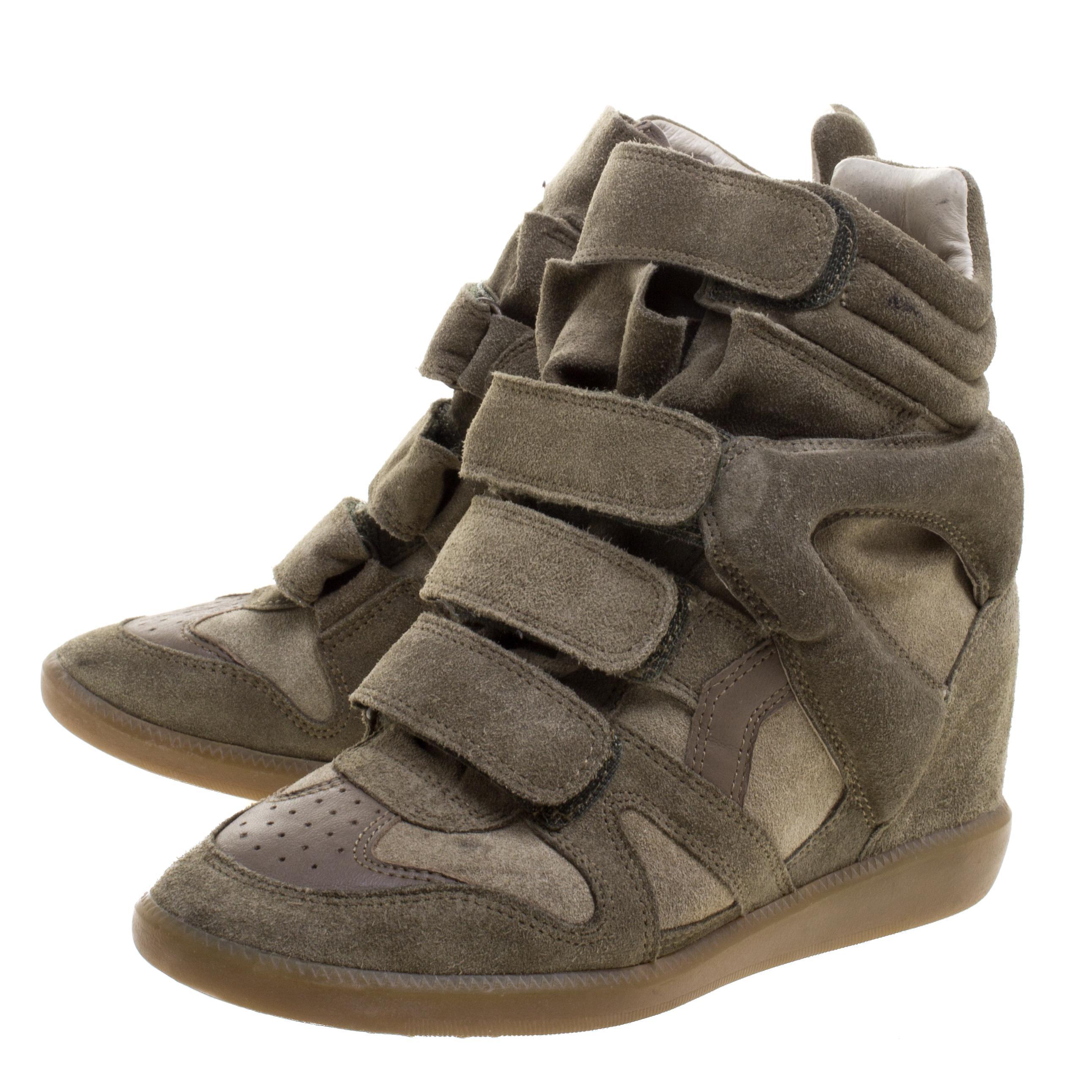 4ef3a02277 Isabel Marant 'bekett' Built-in Wedge Sneakers in Green - Save 27% - Lyst