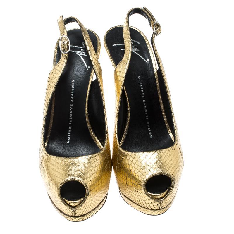 2f7c8cd71 Giuseppe Zanotti - Metallic Gold Python Embossed Leather Peep Toe Platform  Slingback Sandals - Lyst. View fullscreen
