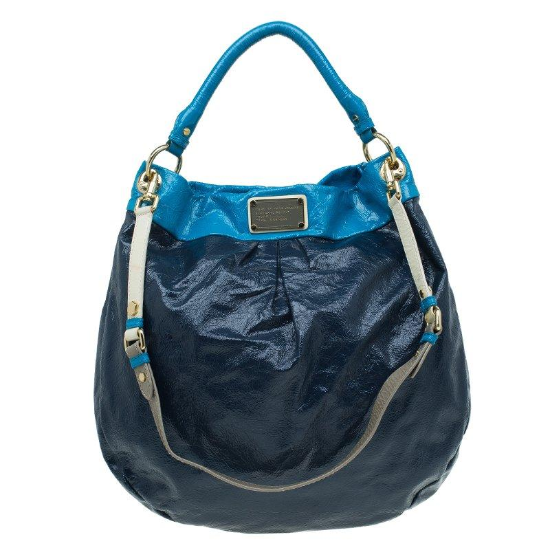 853fa88ca1d Marc By Marc Jacobs. Women's Navy Blue Bicolor Patent Leather Classic Q  Hillier Hobo