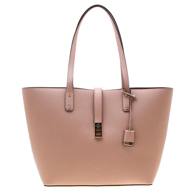 21e99d822f0a Michael Kors. Women's Pastel Pink Leather Large Karson Luggage Carryall Tote