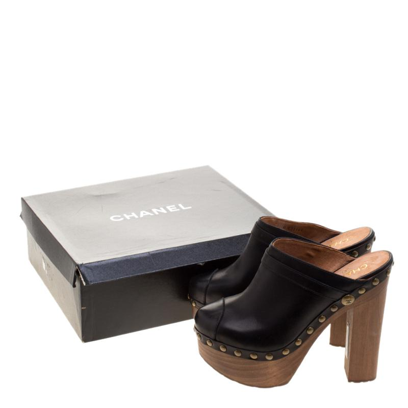 Chanel Leather Platform Wooden Clogs in