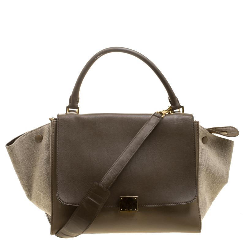 Lyst - Céline  taupe Leather And Canvas Medium Trapeze Tote in Natural a05ecdbc15510