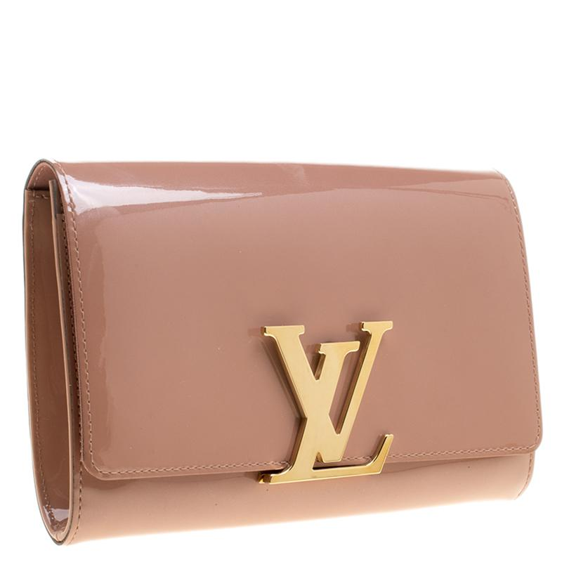 2d8b79ba7fc6 Louis Vuitton Rose Velours Patent Leather Louise Clutch in Natural ...