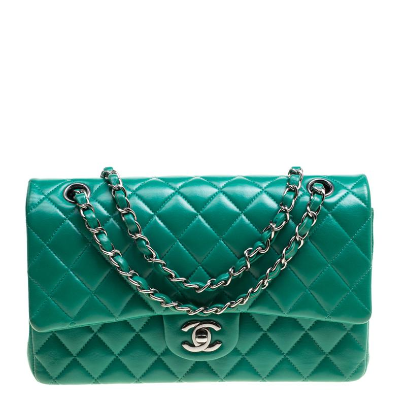 8ef08aac4682 Chanel Quilted Leather Medium Classic Double Flap Bag in Green - Lyst