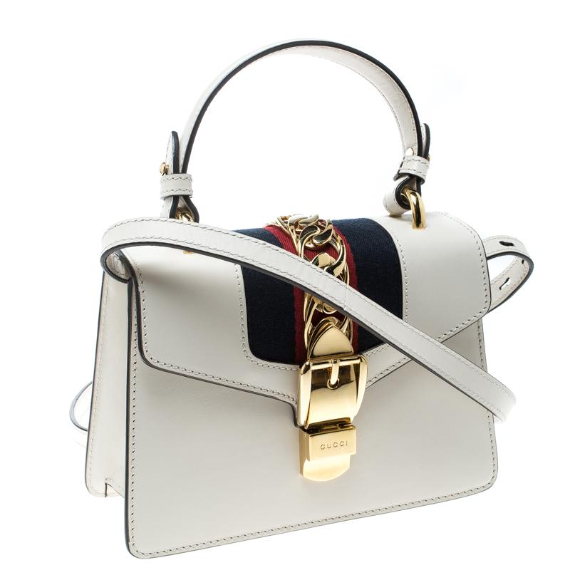 6809cddff4a Gucci - Off White Leather Mini Sylvie Top Handle Bag - Lyst. View fullscreen
