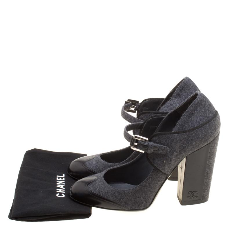 3950efe8301 Lyst - Chanel Grey black Wool Blend And Leather Cap Toe Mary Jane ...
