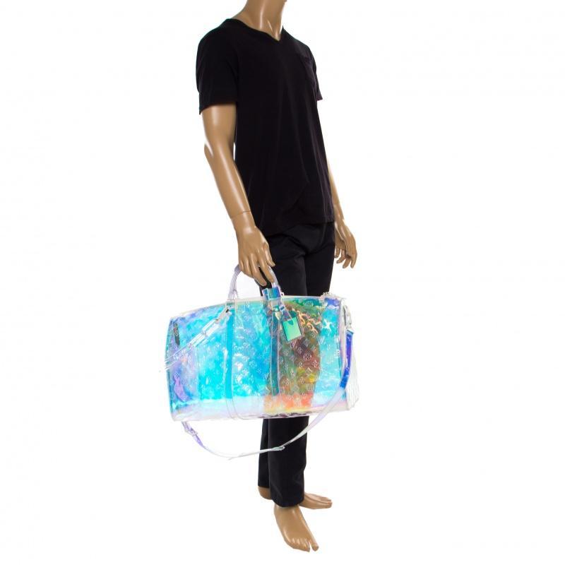 de31df9b166 Louis Vuitton Blue Monogram Prism Keepall Bandouliere 50 Bag for men