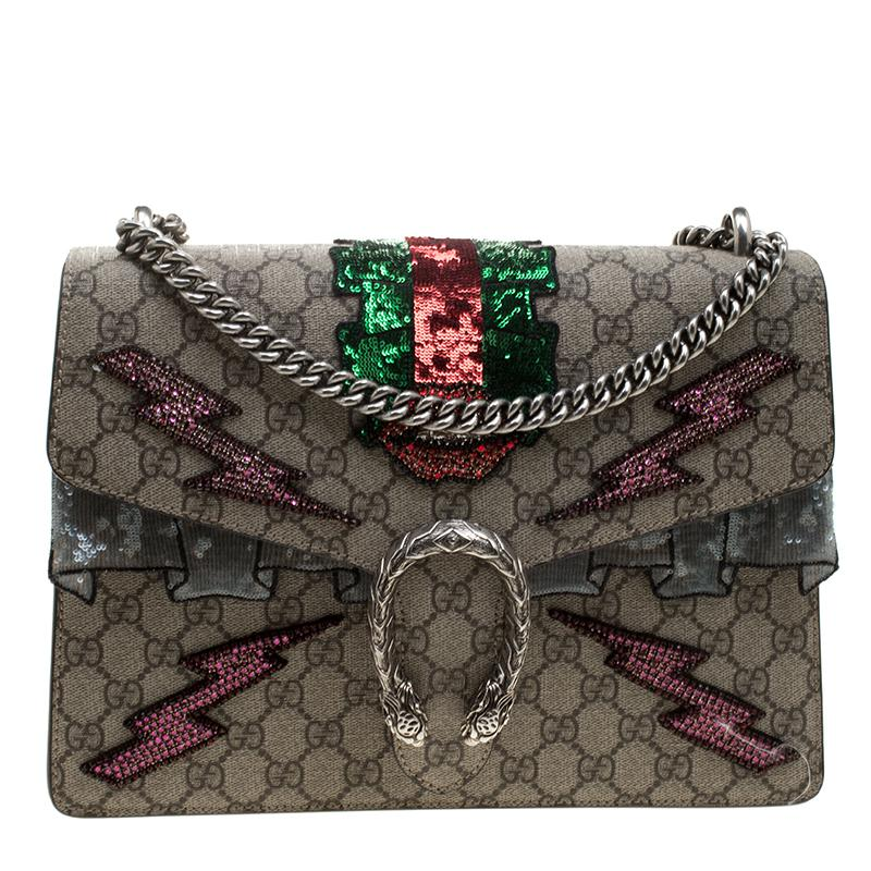 6b9bc8bfeea Gucci GG Supreme Canvas Medium Dionysus Embroidered Shoulder Bag in ...