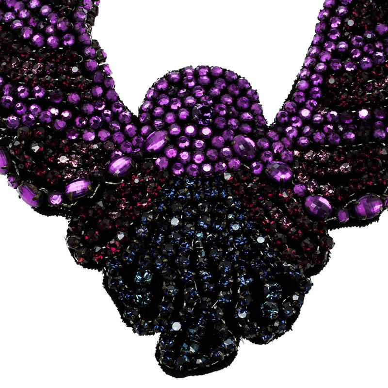 Etro Crystal Studded Bib Black Fabric Necklace in Purple