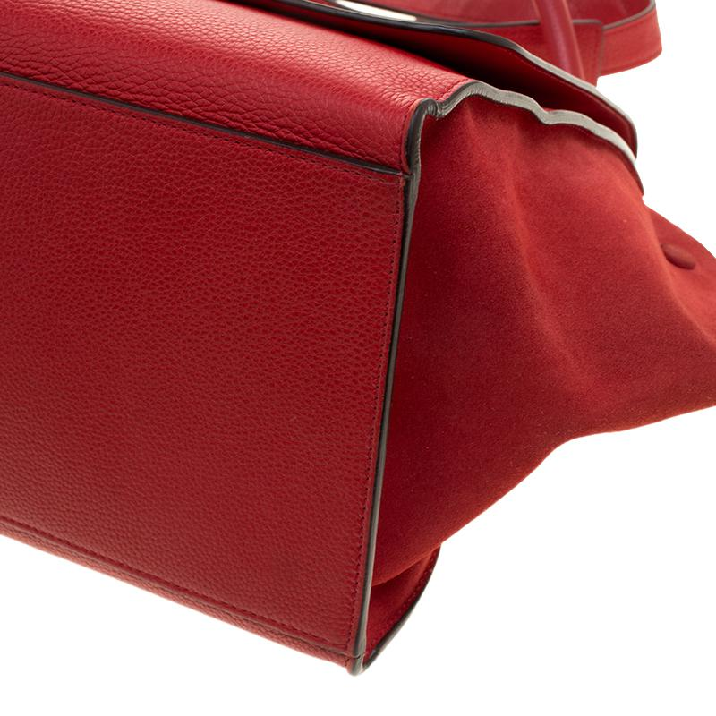 Lyst - Céline Leather And Suede Medium Trapeze Bag in Red eb9cb2e16e75c