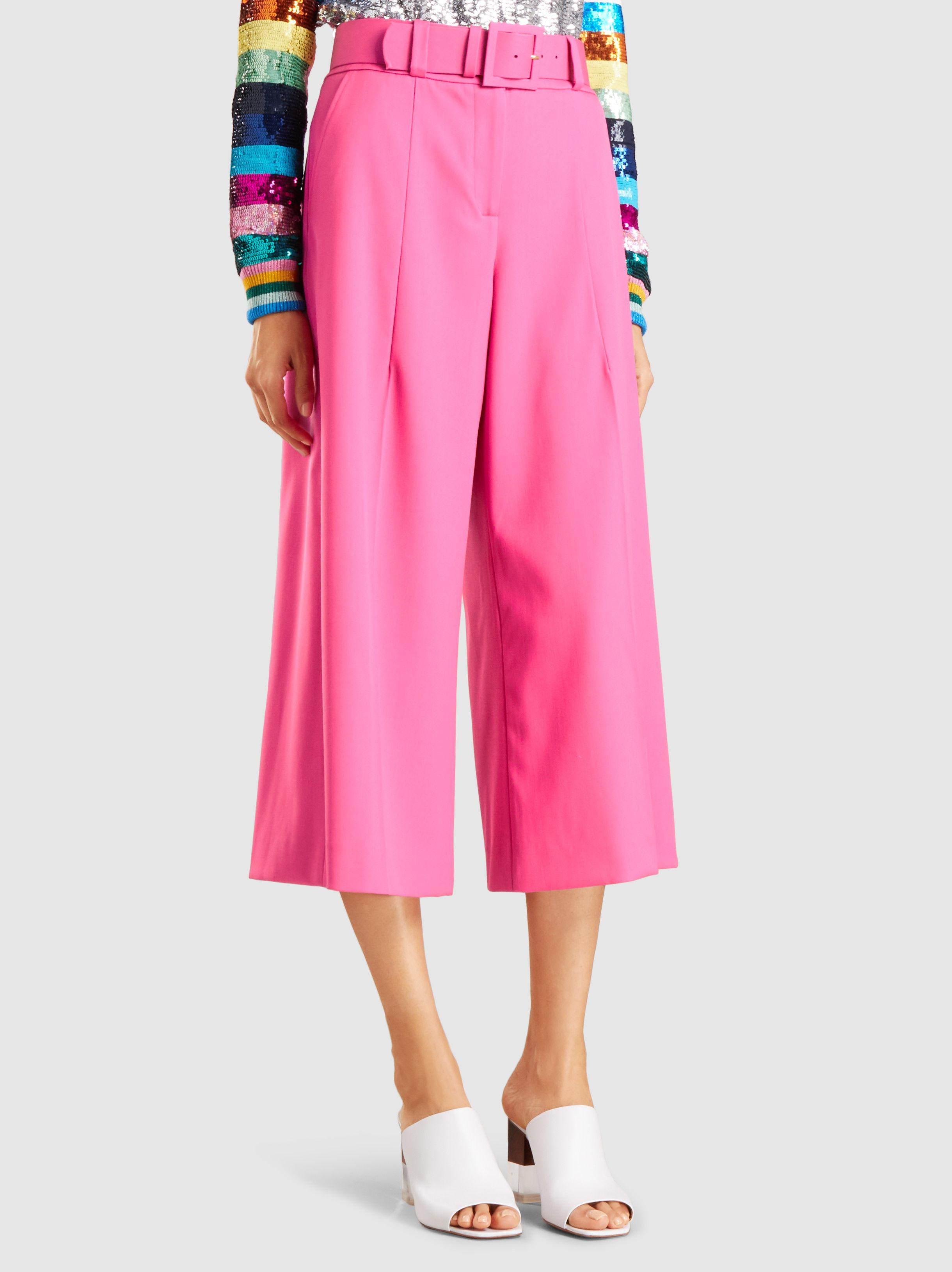 Wide Leg Stretch-Wool Culottes Oscar De La Renta
