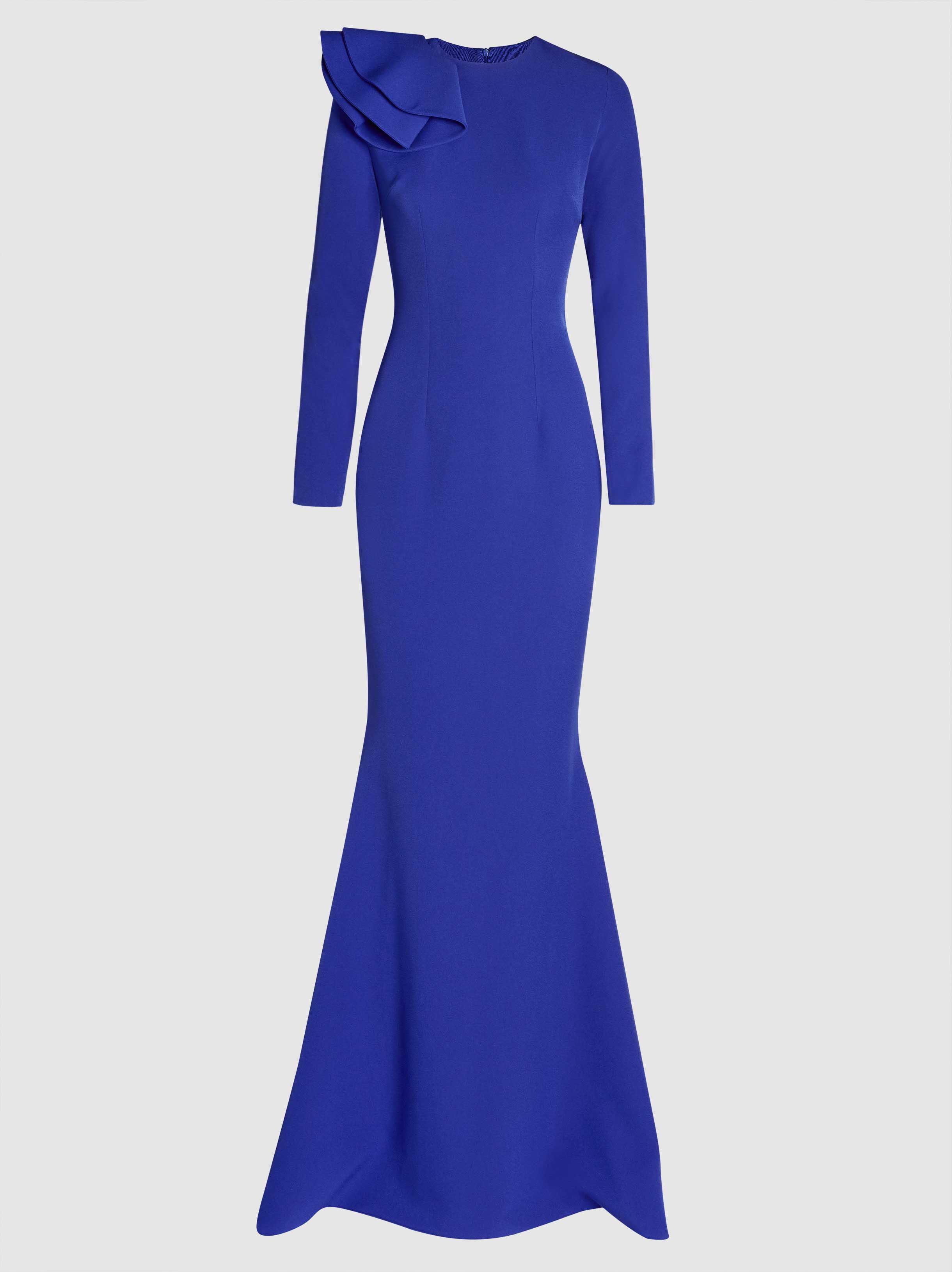 Lyst - Safiyaa Doniya Long-sleeved Crepe Gown in Blue