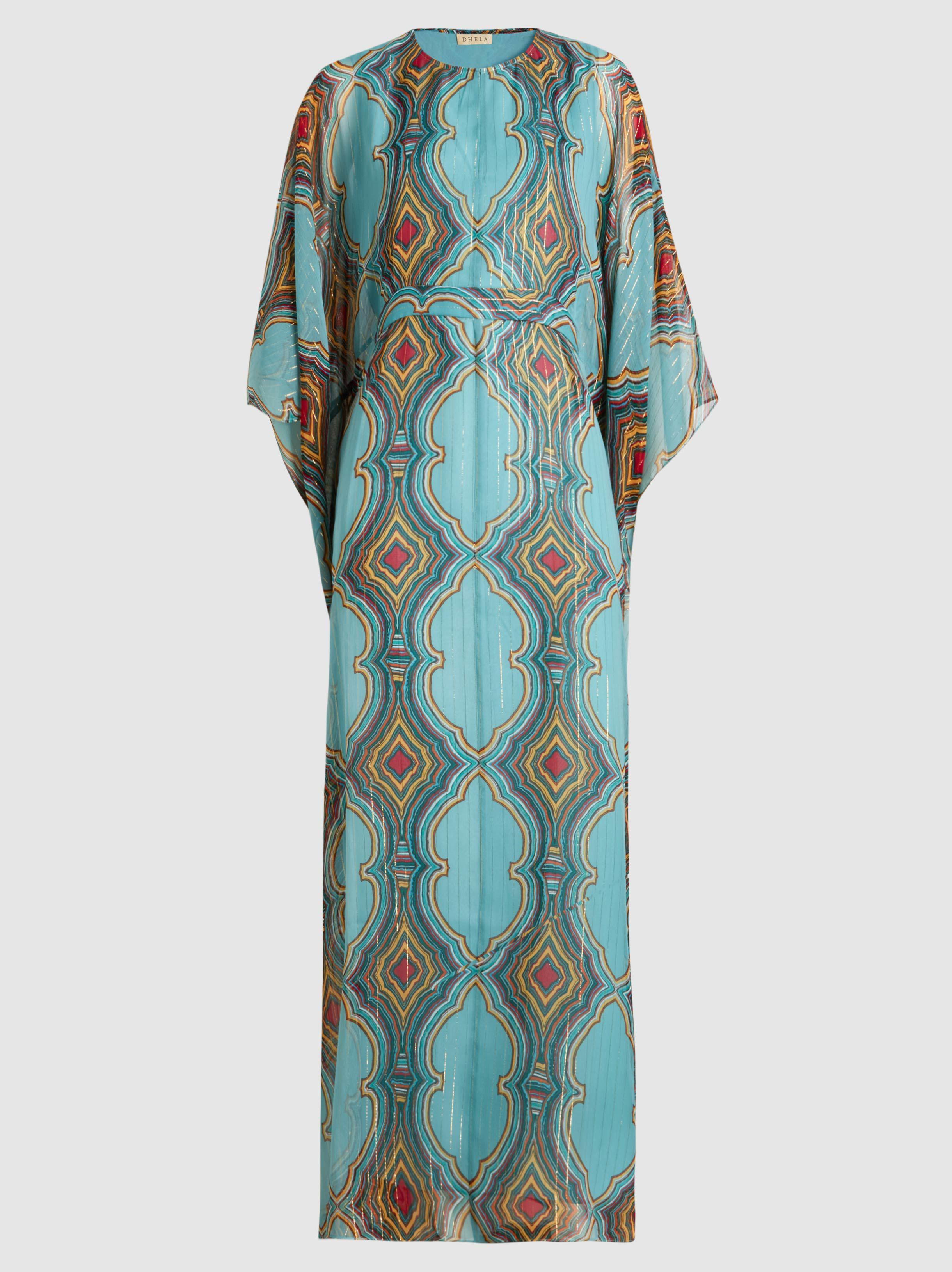 Striped Silk-Blend Kaftan Gown Dhela HucQW6