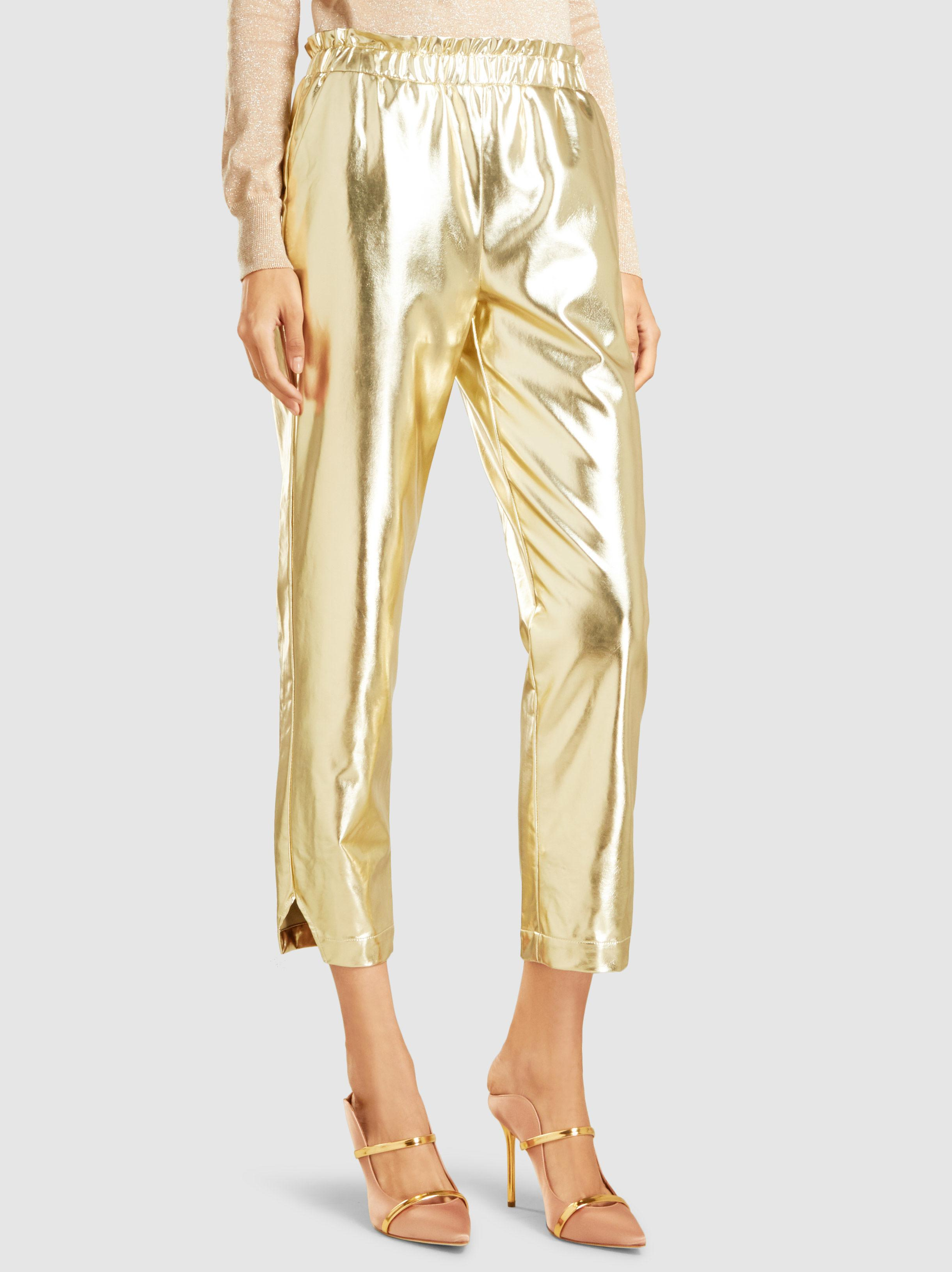 Metallic Faux Leather Cropped Trousers Frame Denim 6QYBd12w