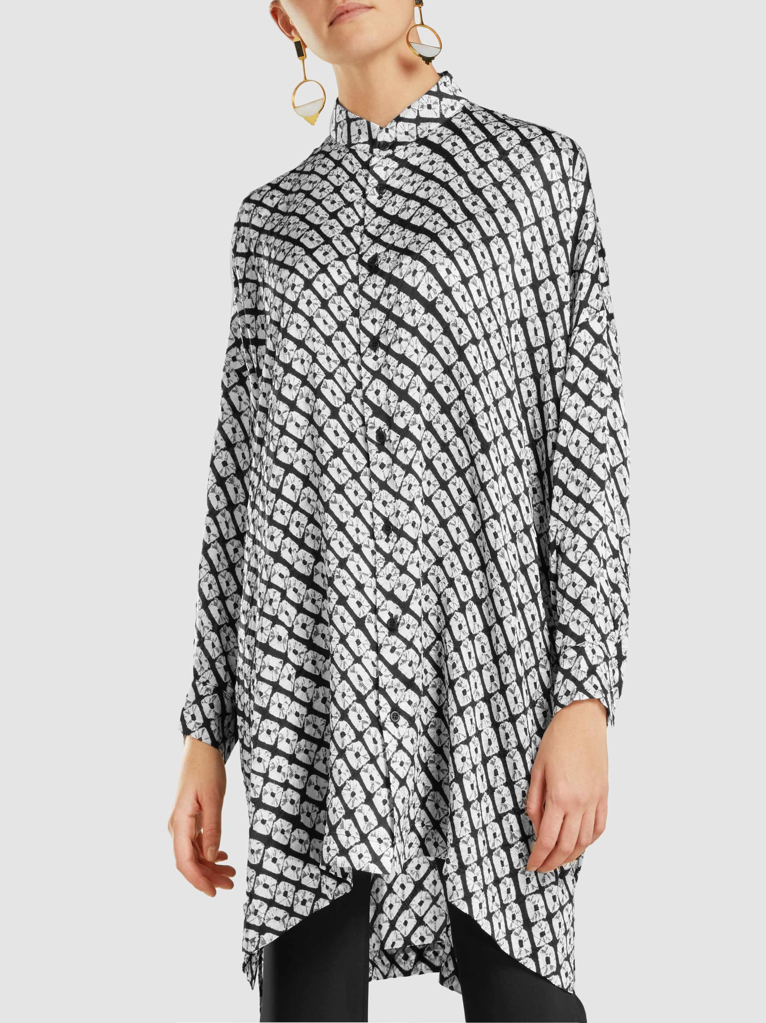 Lyst eskandar small diamond shibori tie dye silk shirt for Diamond and silk t shirts