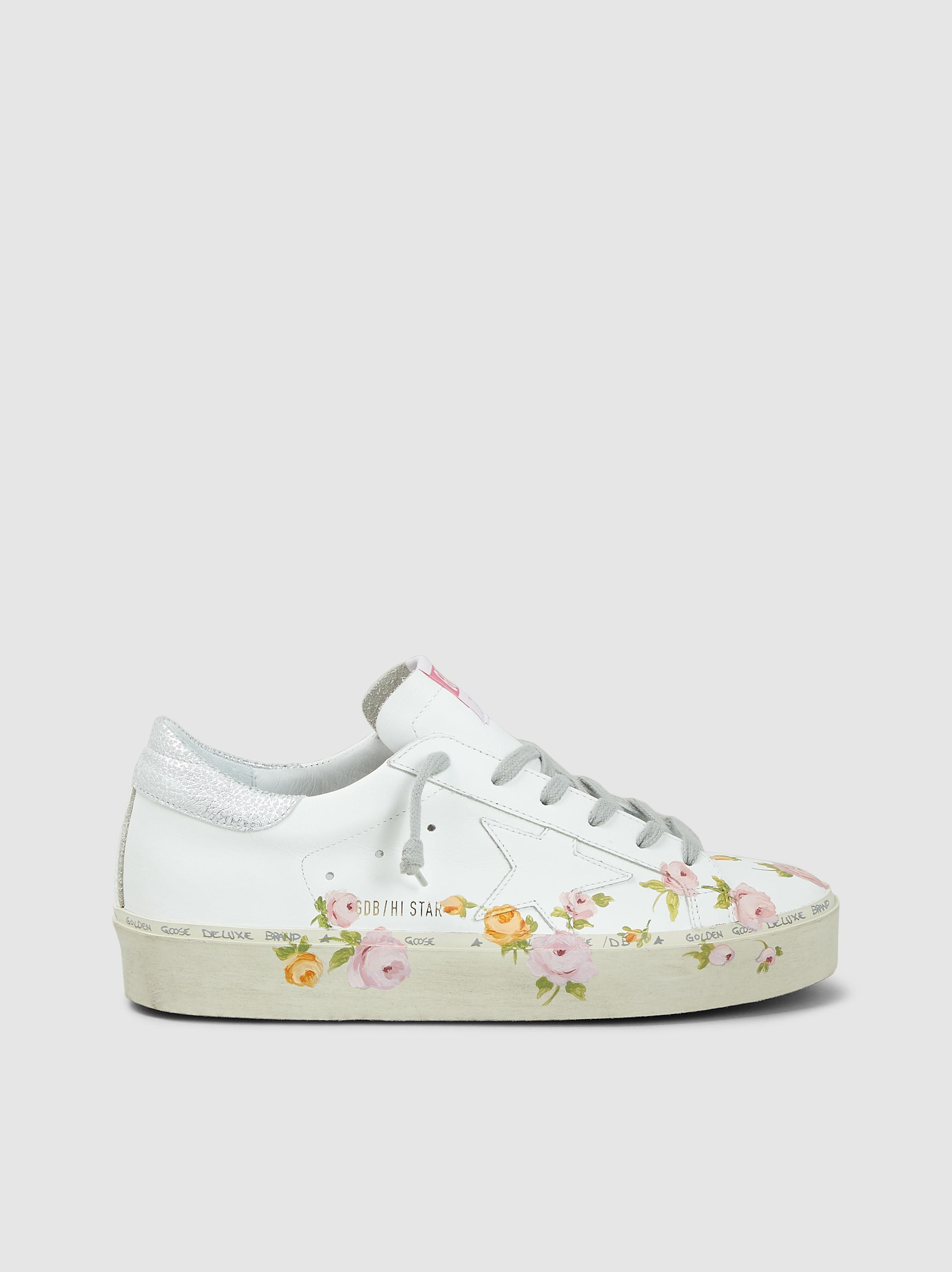 7820e27a4d2db Golden Goose Deluxe Brand. Women s White Floral Print High-star Sneakers