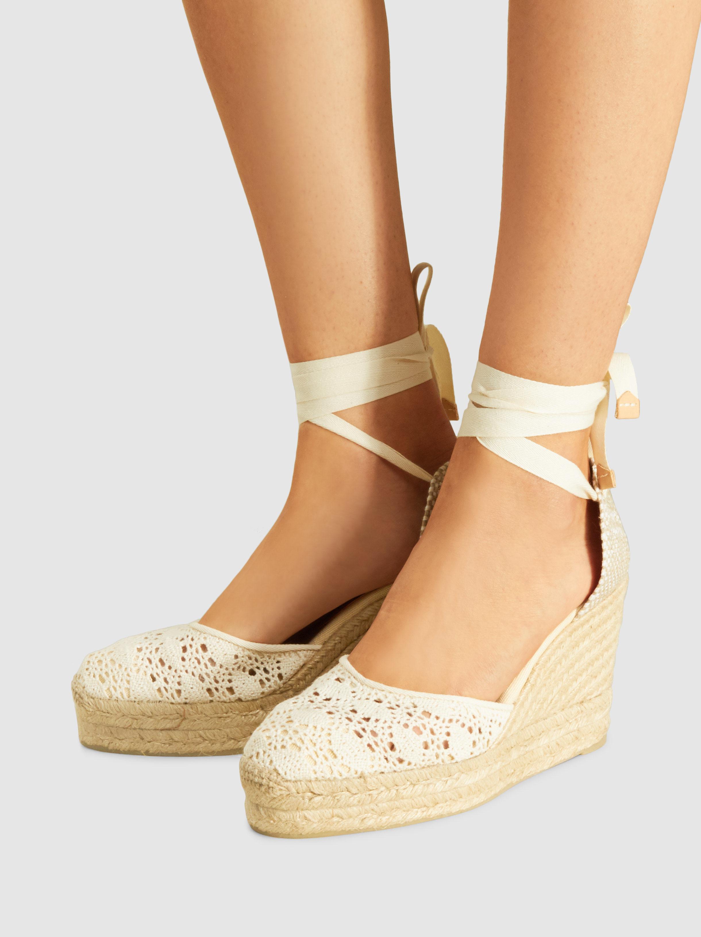 ea68dd00293 Castaner Natural Carina Crochet Wedge Espadrille Sandals