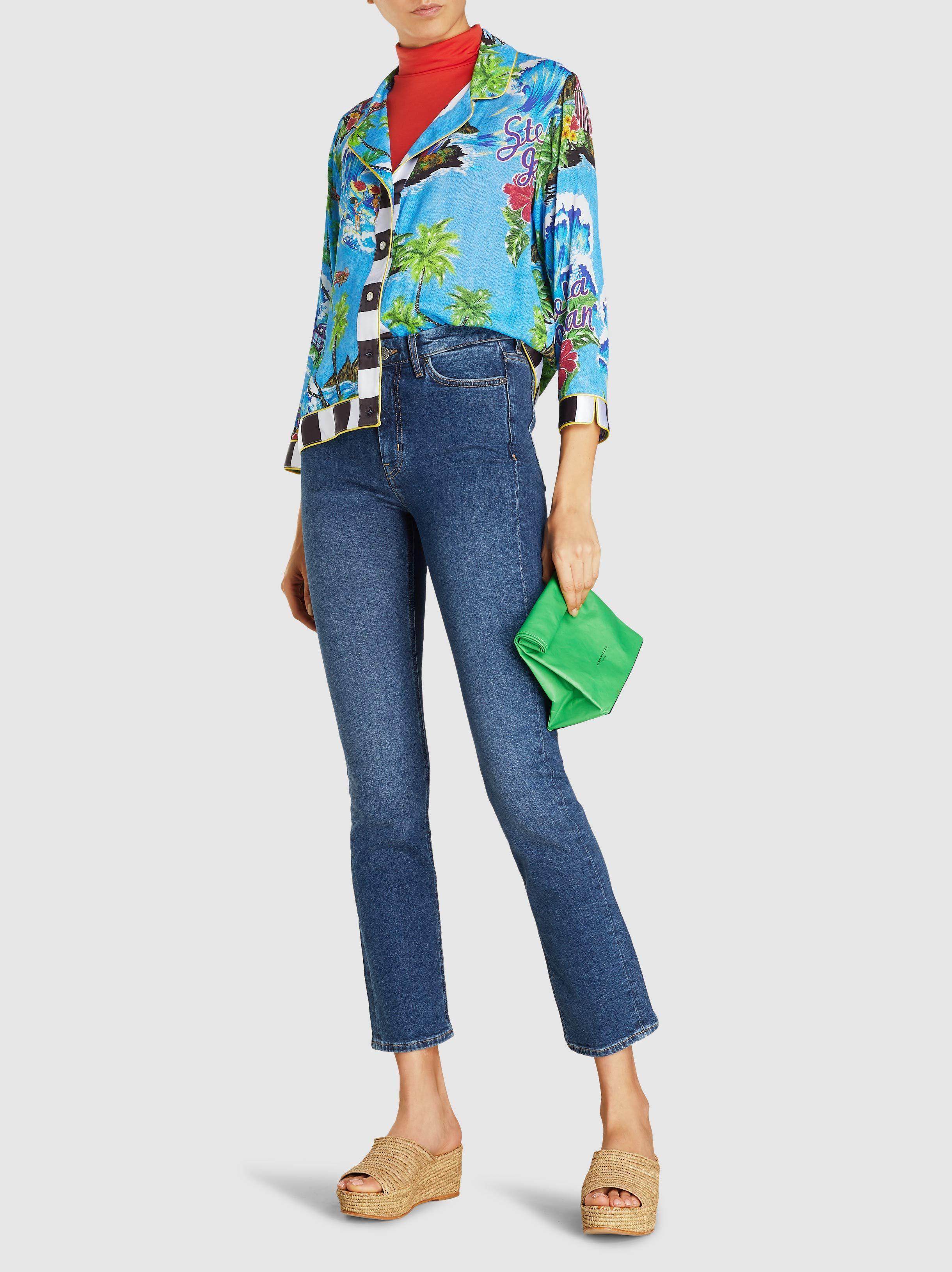 6e474700 Stella Jean - Blue Hawaiian Print Cropped Button-up Organic Cotton Bowling  Shirt - Lyst. View fullscreen