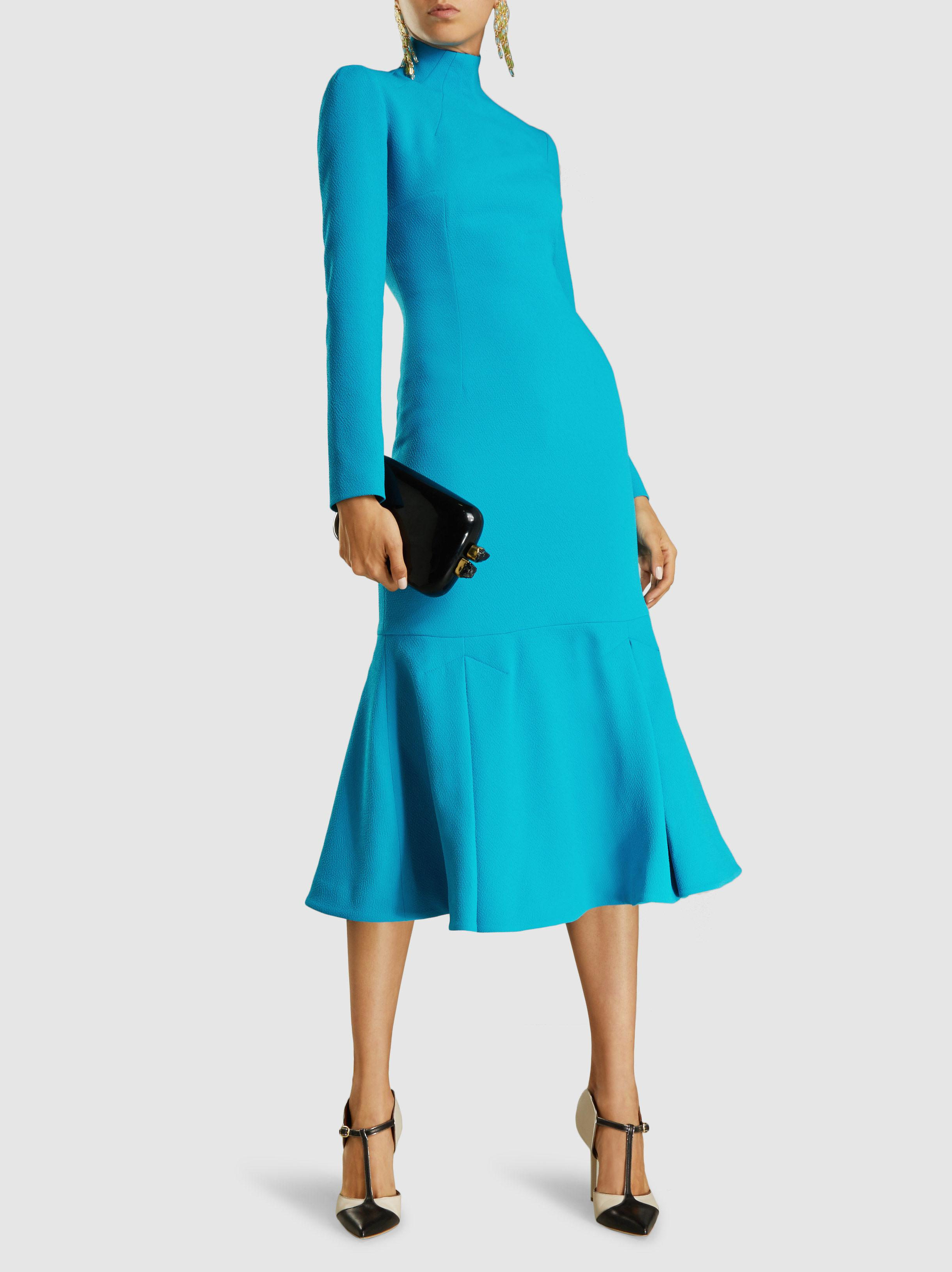 Prudence High Neck Double Crepe Dress- Women's- Mid Blue
