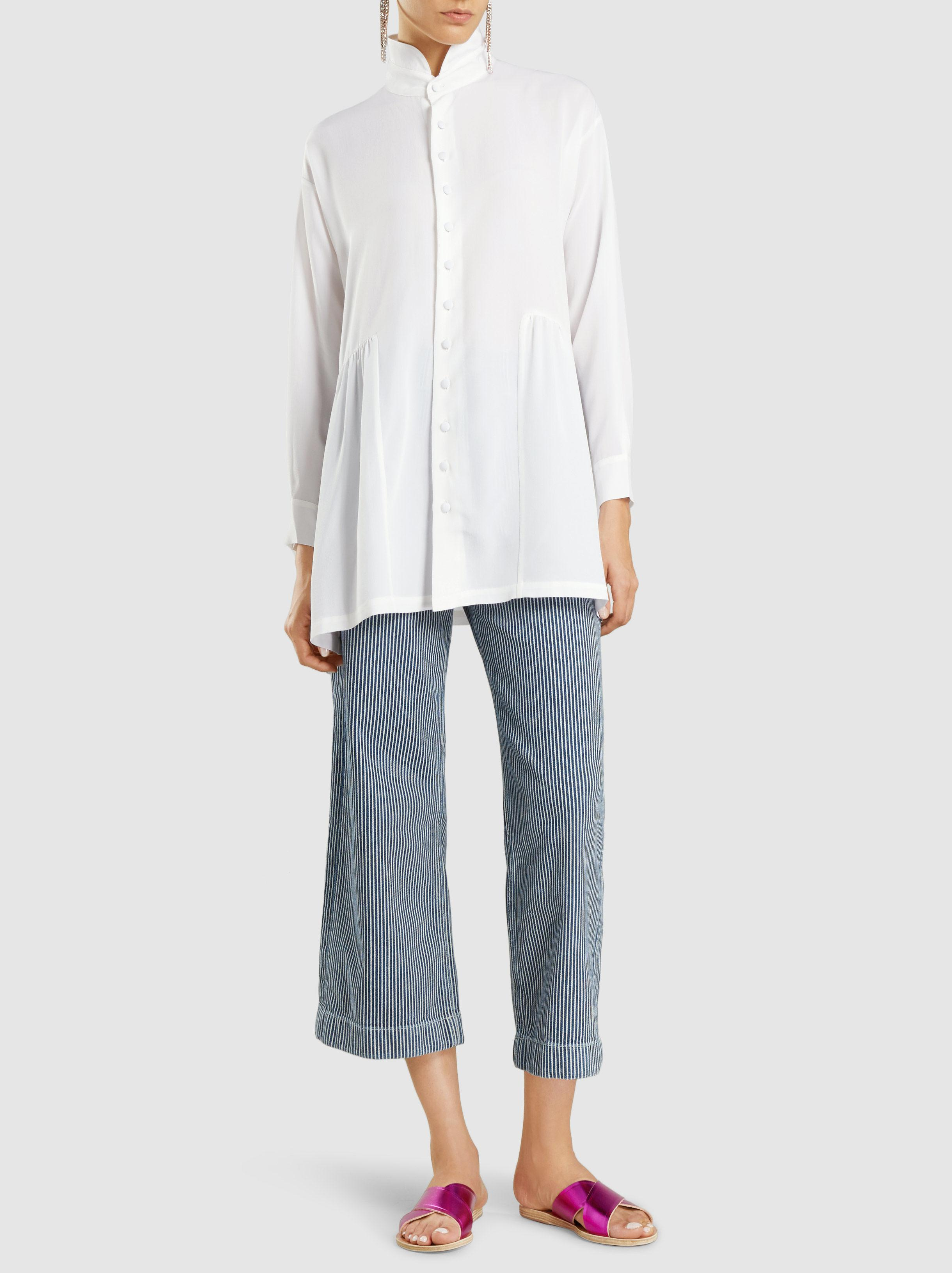M I H Jeans Cotton Striped Caron Wide Leg Trousers In Blue