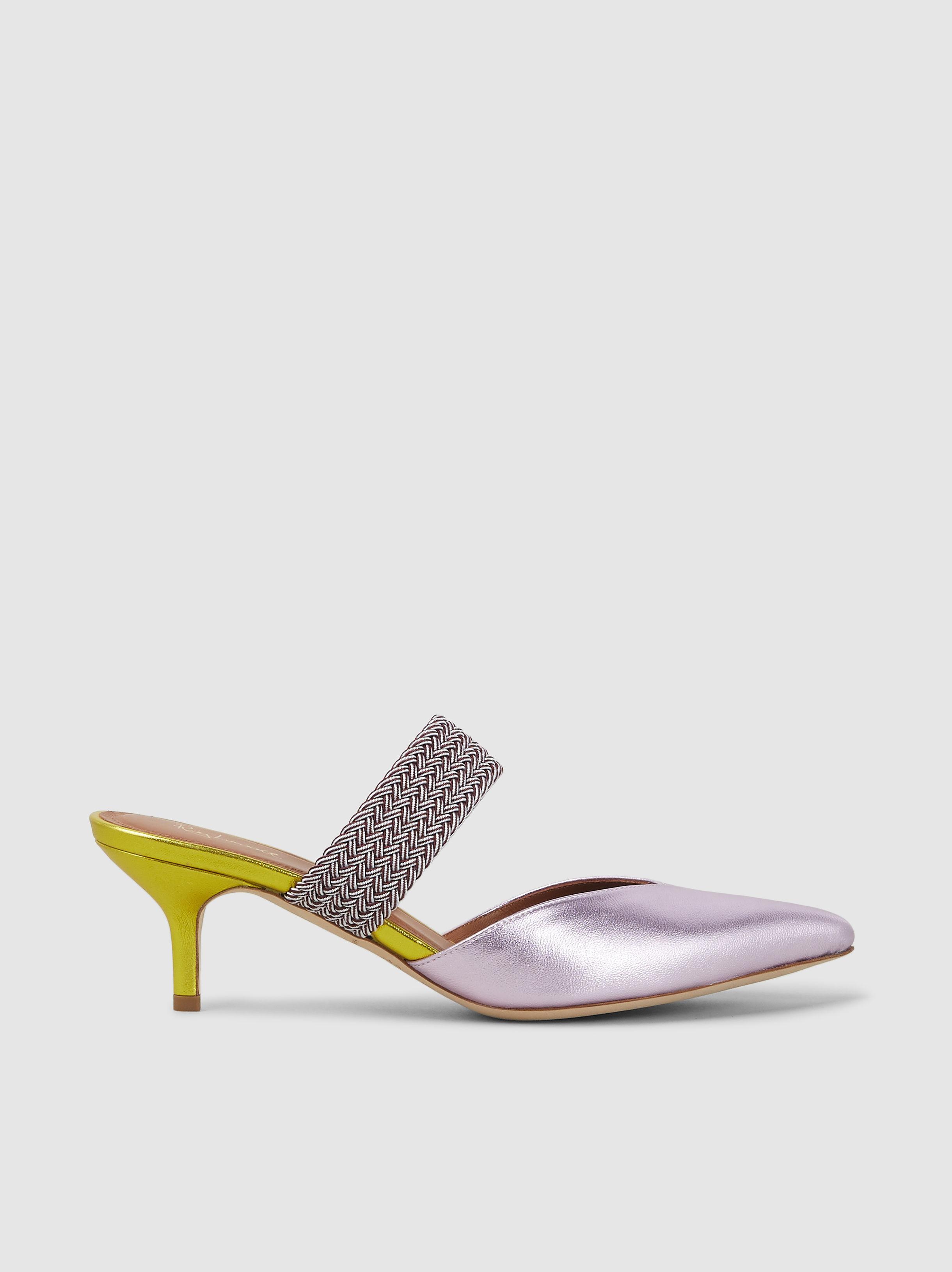67d8ec8ba07 Lyst - Malone Souliers Maisie Metallic Kitten Heel Mules in Pink