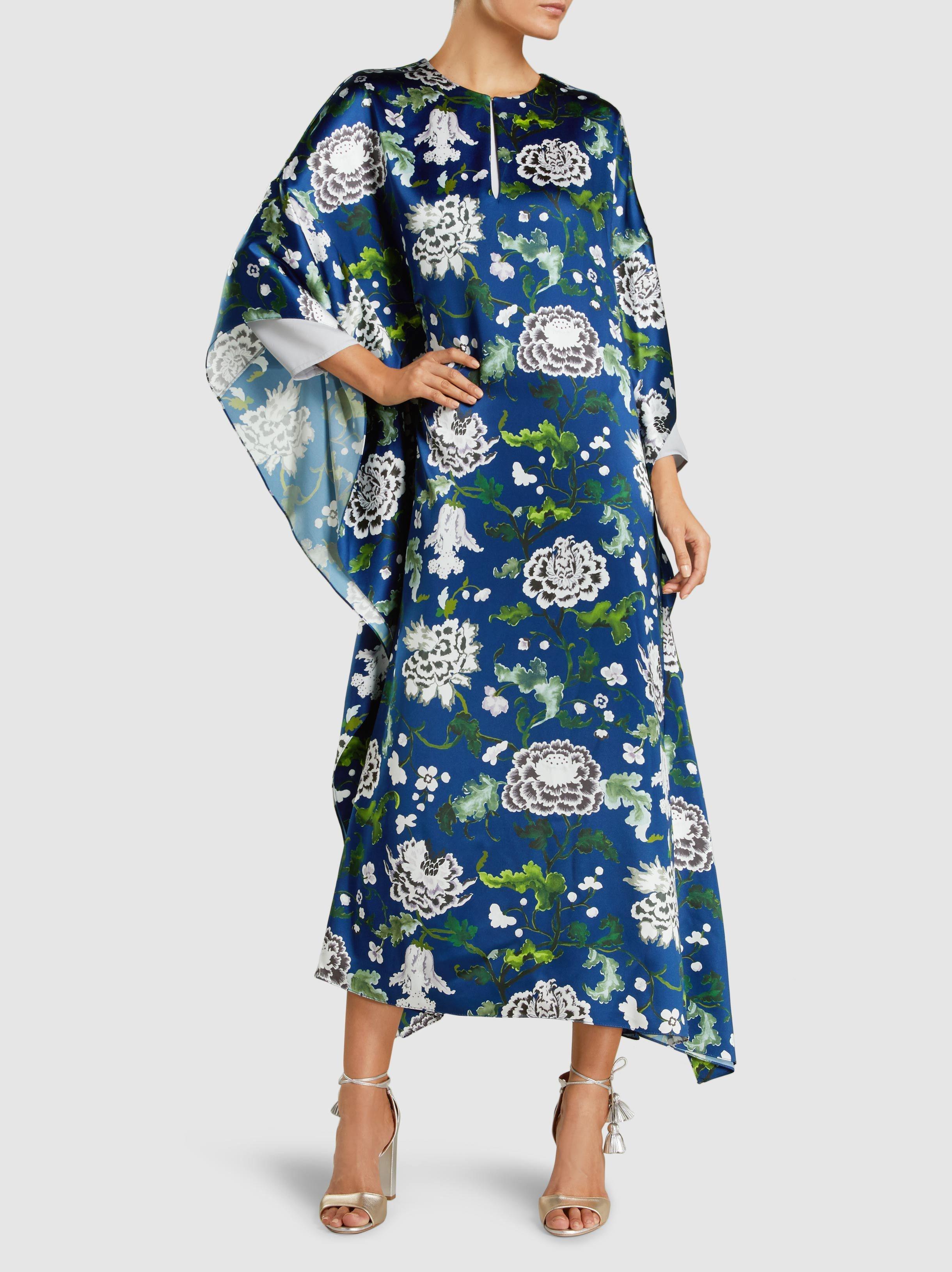 Floral-Print Silk-Satin Kaftan Gown Adam Lippes Kq6Pfs