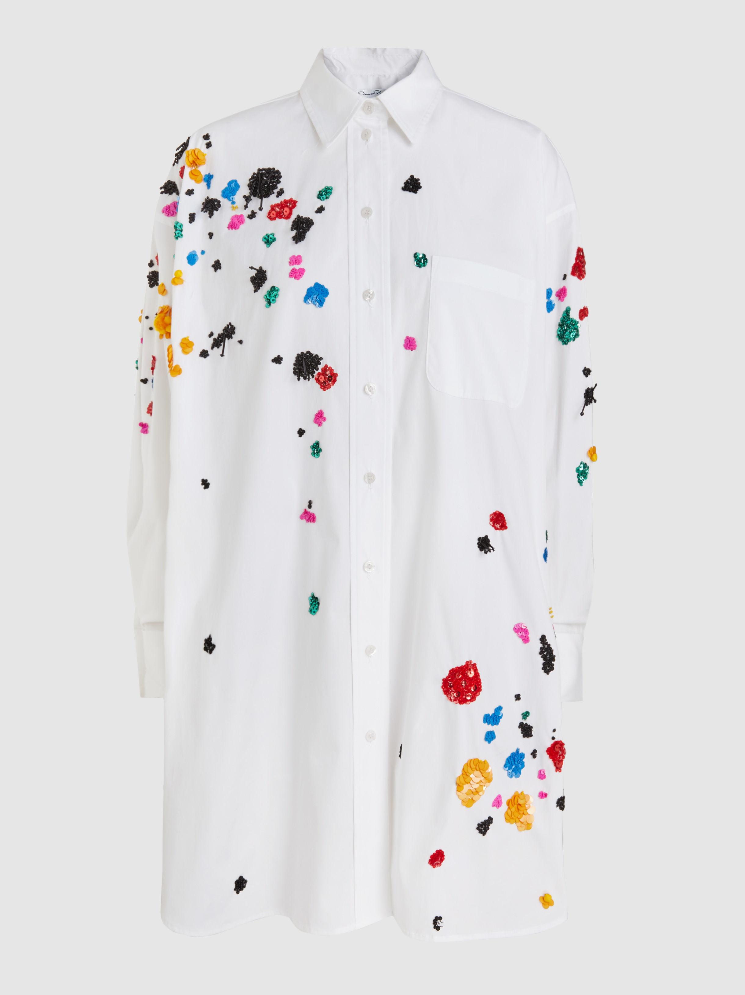 Clearance 100% Original brooch embellished pleated shirt - White Oscar De La Renta Discounts Sale Online New Arrival Cheap Price iYDvfG4SPL