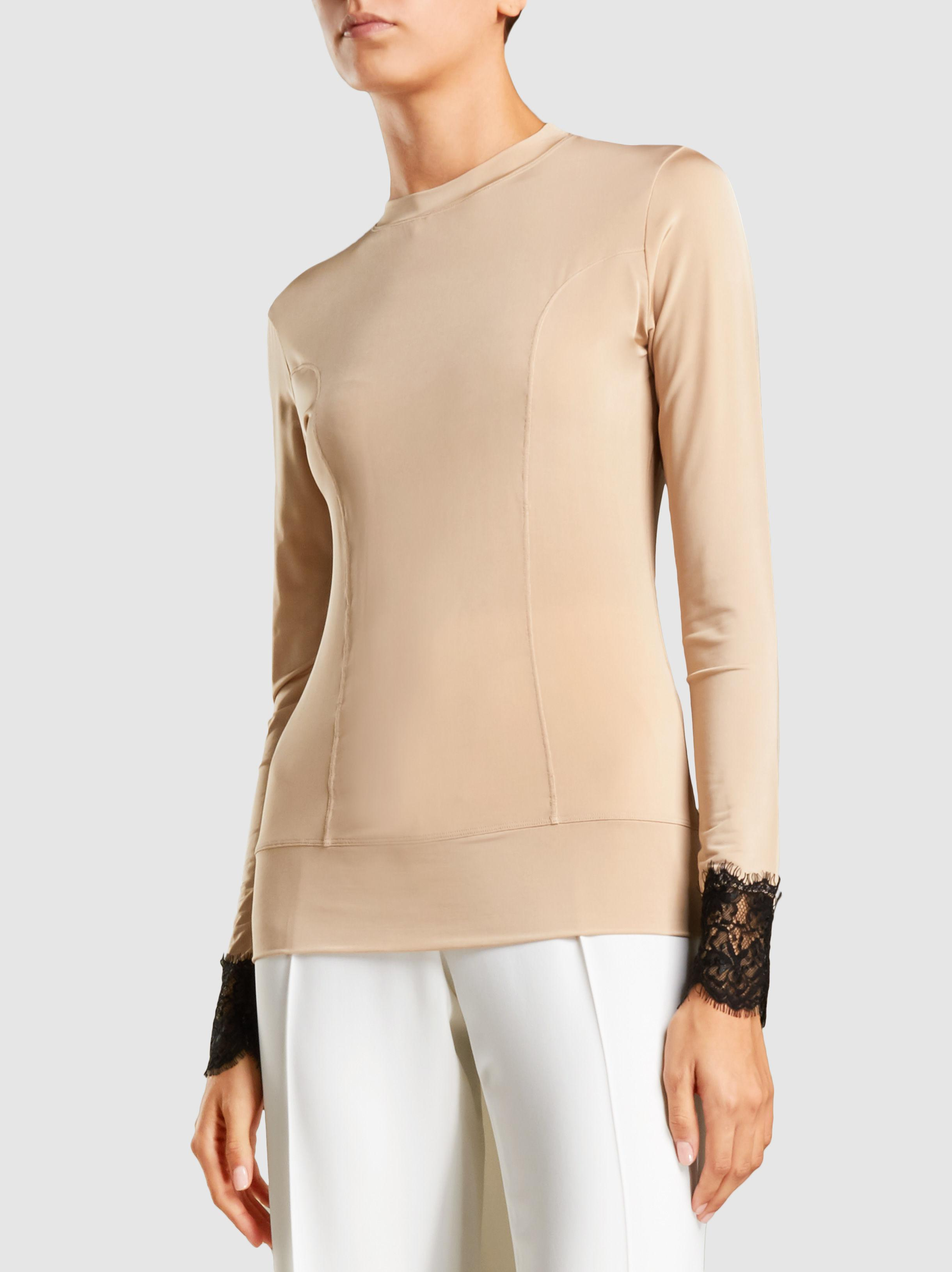 Ganni Long-Sleeved Lace Cuff Top Low Price For Sale Outlet New Styles WZPQoQS3