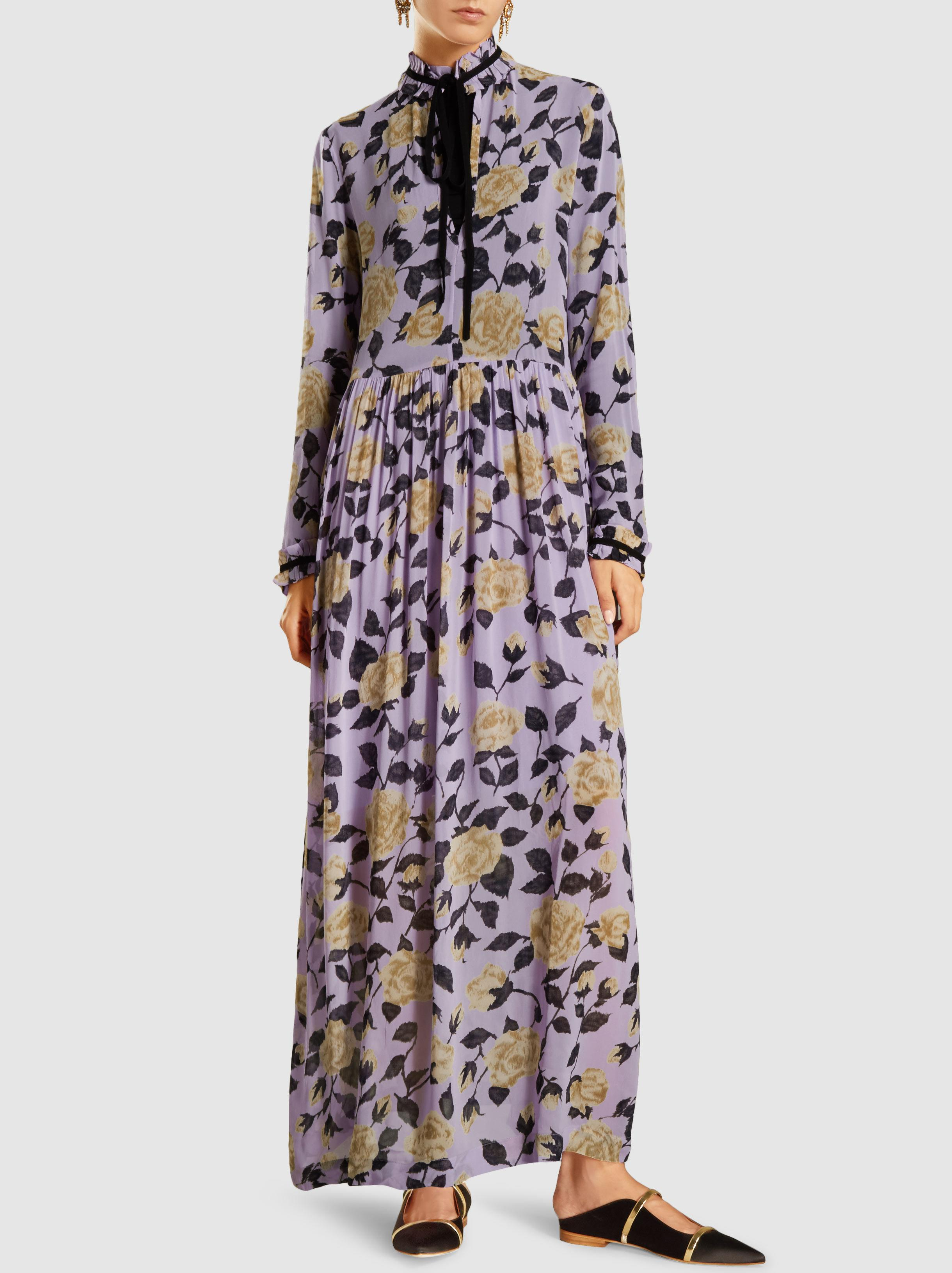dabd8e3e Ganni Carlton Floral-print Georgette Maxi Dress in Purple - Lyst