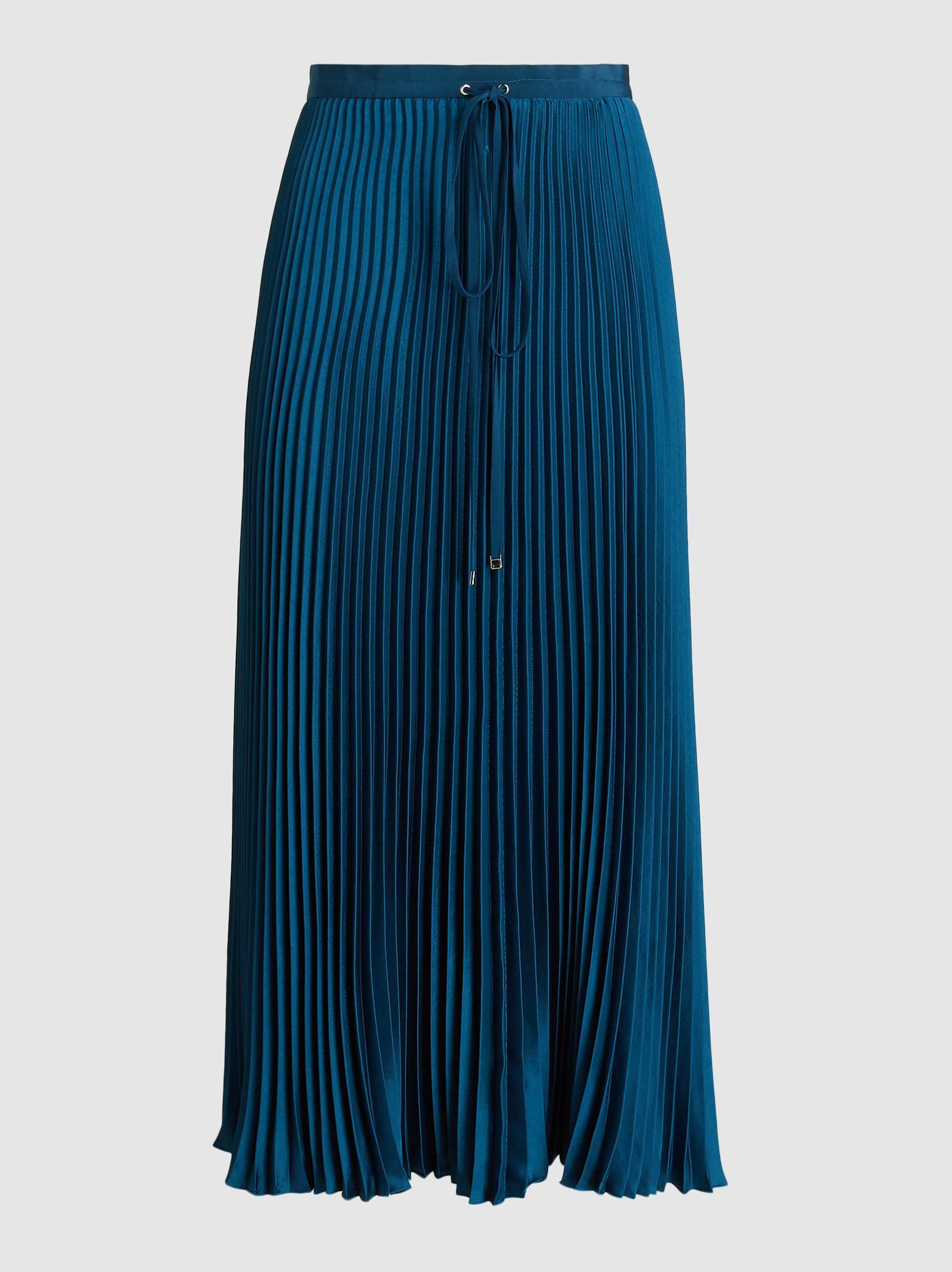 9cc1d85375 Tibi Mendini Pleated Twill Midi Skirt in Blue - Lyst
