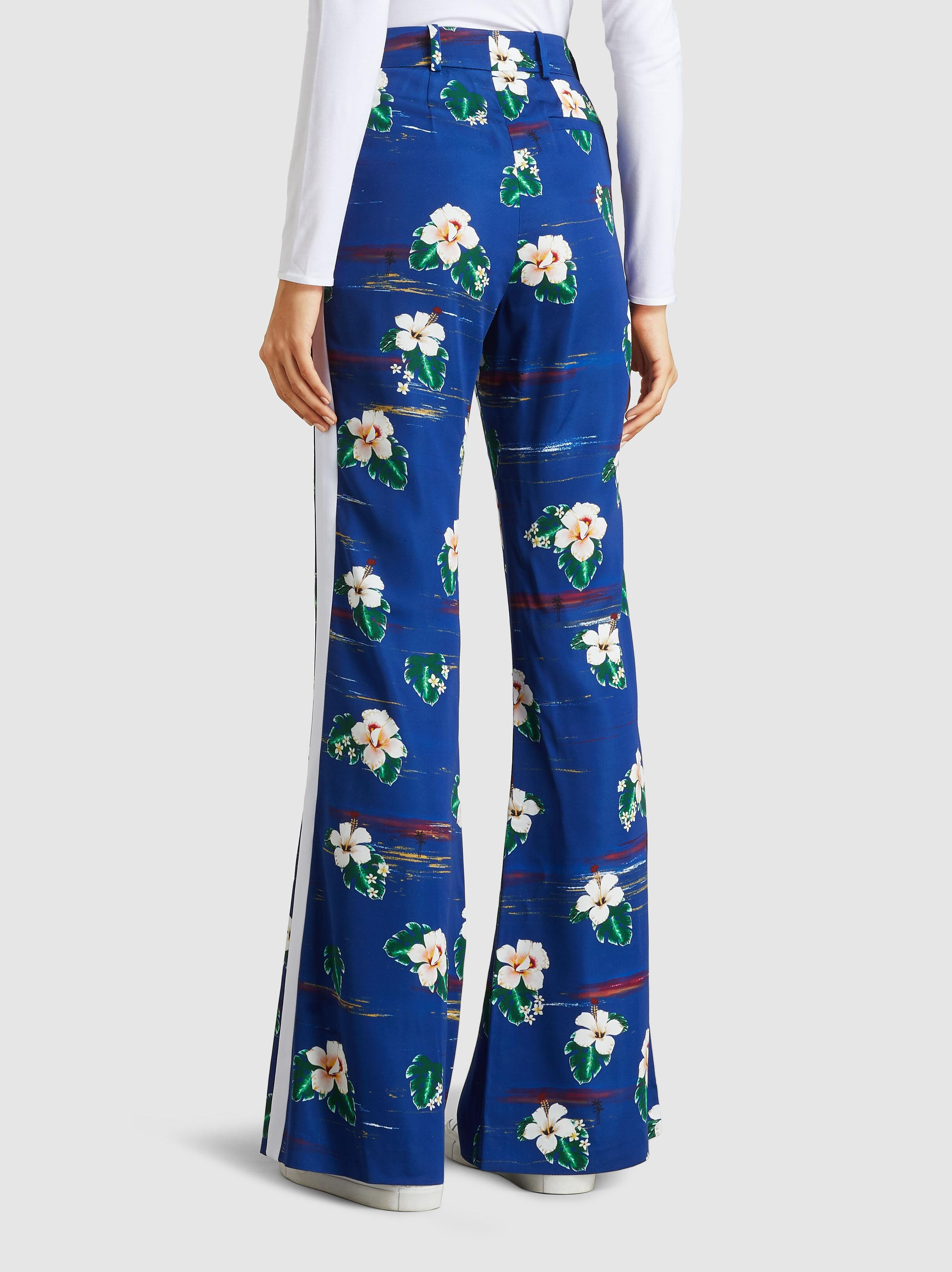 Ladies Viscose Navy Blue Floral Flower Print Casual tapered Trousers Pockets