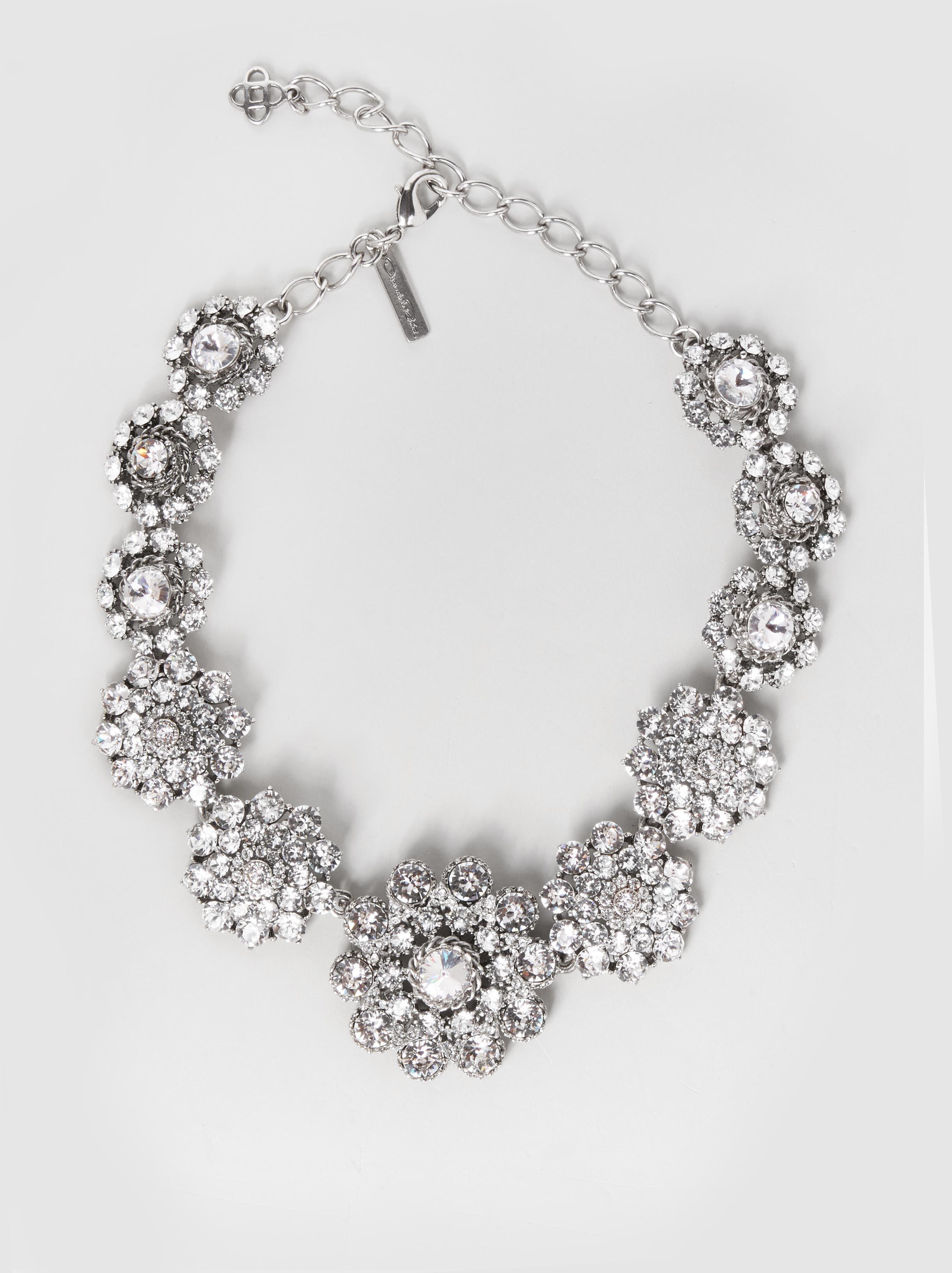 Crystal Cluster Silver-Tone Necklace Oscar De La Renta fHrb1Gr