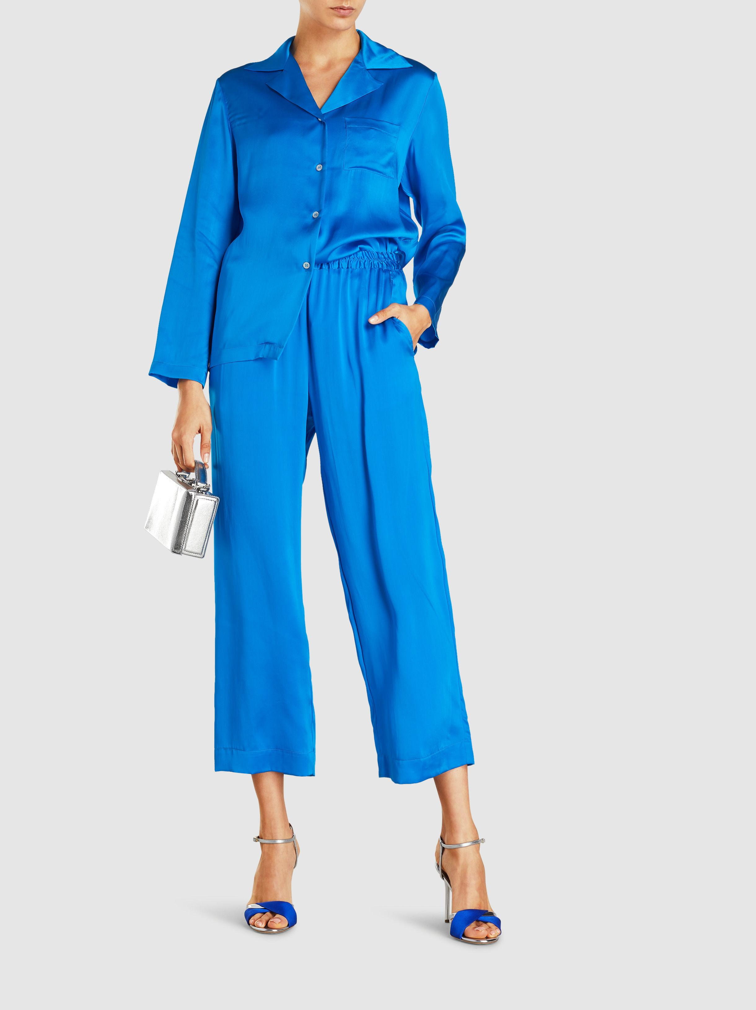 984230fe52ac1 Mansur Gavriel - Blue Pyjama-style Silk Charmeuse Trousers - Lyst. View  fullscreen