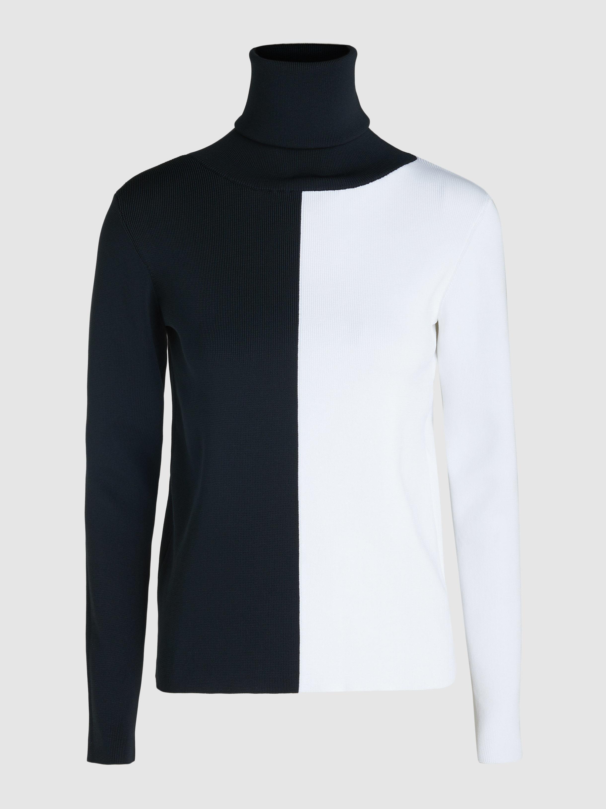 9b8b81fb720453 Lyst - Simon Miller Berto Two-tone Fine-knit Turtleneck in Black