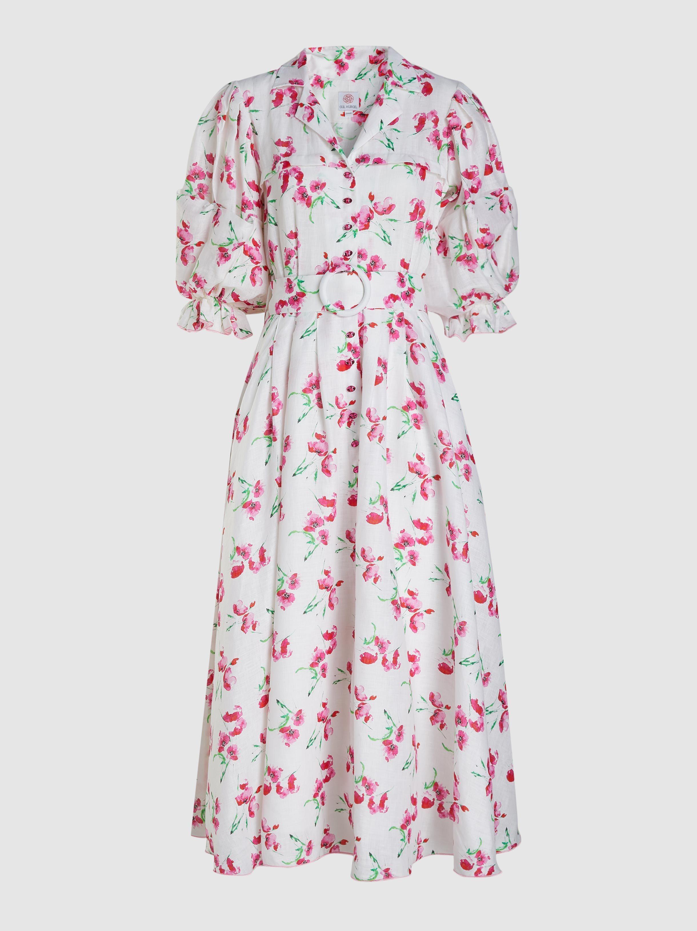 26c3028a6c Lyst - Gül Hürgel Poppy Print Linen Midi Dress in White