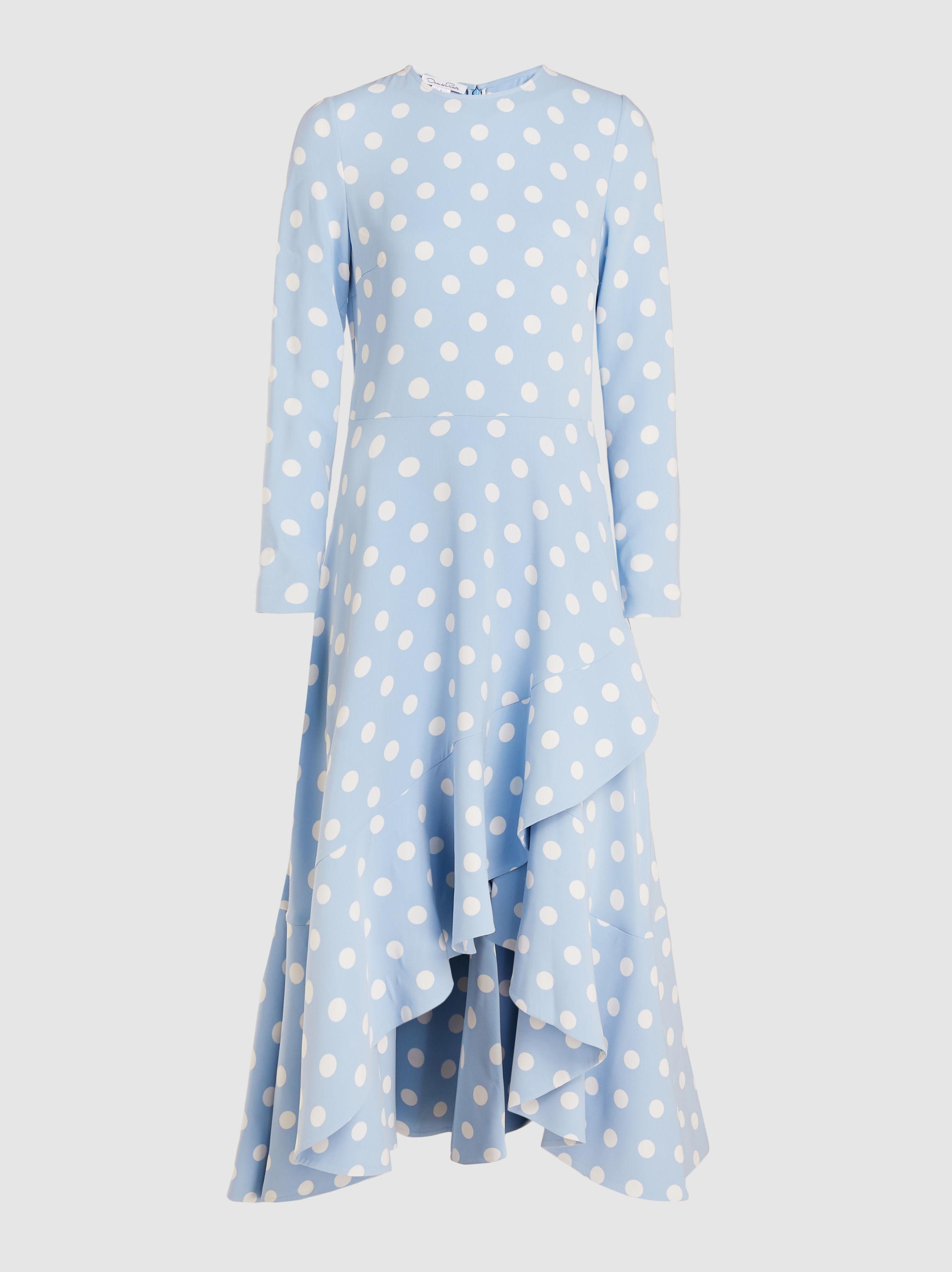 8269d2e1566fc7 Lyst - Oscar de la Renta Polka Dot Dress in Blue - Save 8%
