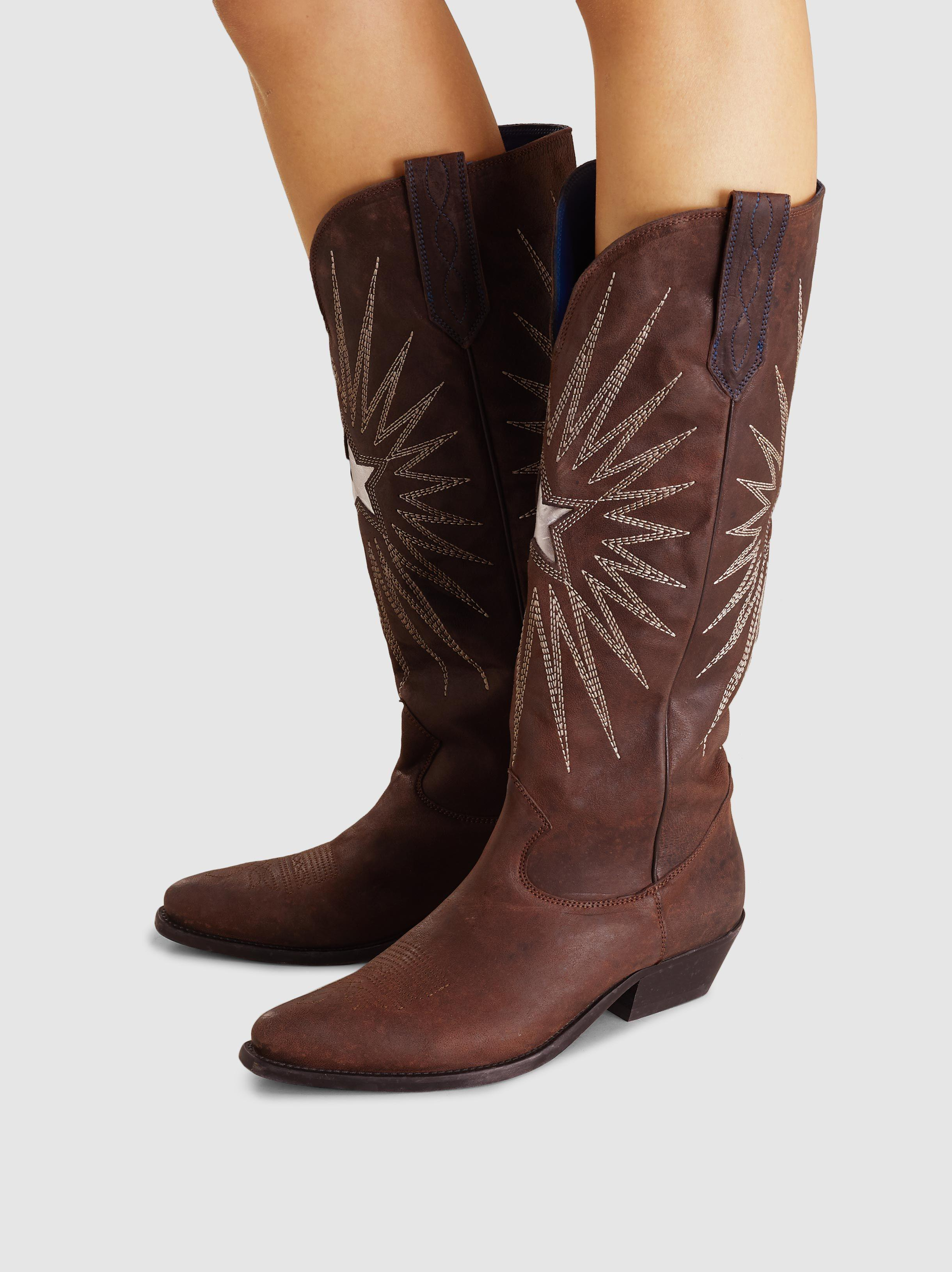 5ecfac91920a Lyst - Golden Goose Deluxe Brand Wish Star Embroidered Leather Boots ...