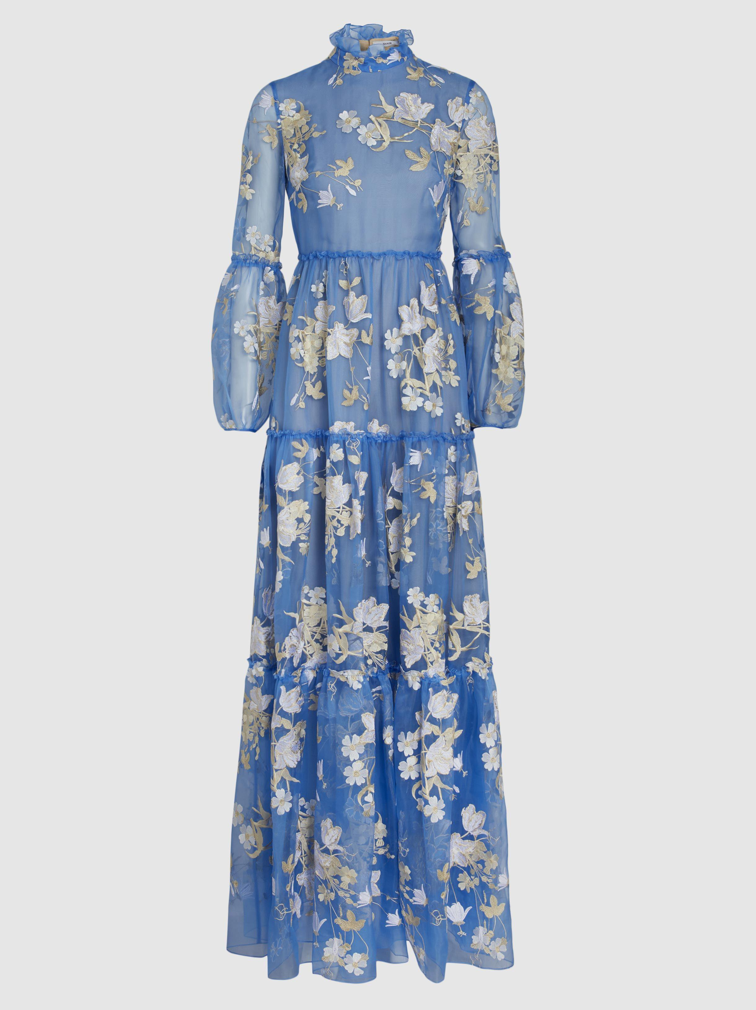Cassandra Ruffled Embroidered Silk-organza Gown - Light blue Erdem kIbmDNfyO